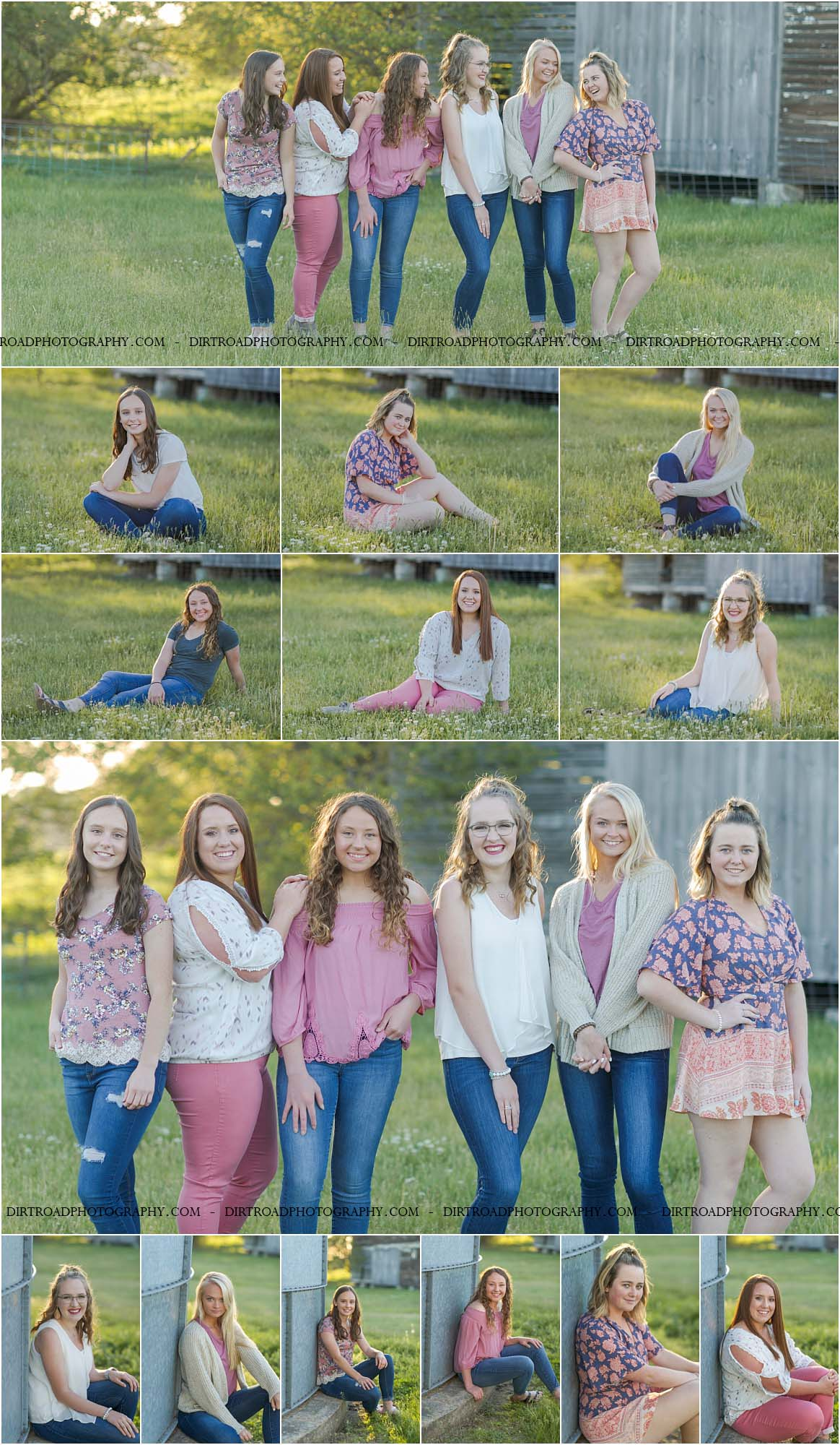 picture of high school senior girls from high schools in nebraska including wilber-clatonia high school, milford high school, friend high school, tri-county high school and norris high school. girls are dressed in rompers, jeans, tanks, and sandals or boots. they're standing in tall green grass with purple wildflowers surrounding them at sunset for high school photography sessions held by dirt road photography located near southeast nebraska wilber and swanton area by kelsey homolka nerud the photographer