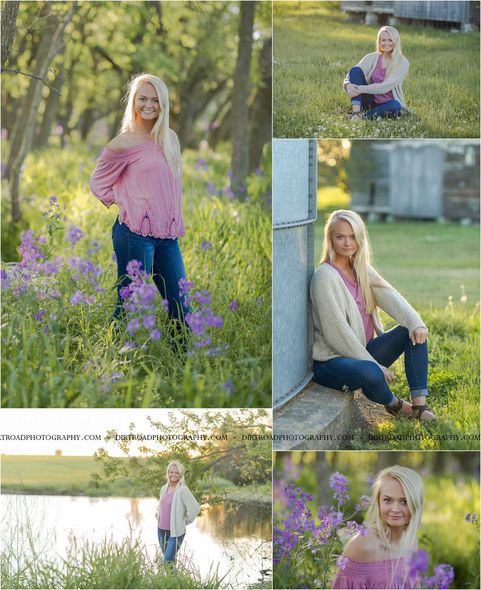 images of high school girl senior photos named caitlin sharkey of friend nebraska who went to friend high school in nebraska and is part of the class of 2020. photos were taken near swanton nebraska in saline county. photo includes purple wildflowers that bloom in the spring. photo taken at sunset with girl in denim jeans and pink lace flowy shirt with long blonde hair. surrounded by trees and tall green grass. photographer is kelsey homolka nerud of wilber nebraska who specializes in high school senior photography and senior pictures.