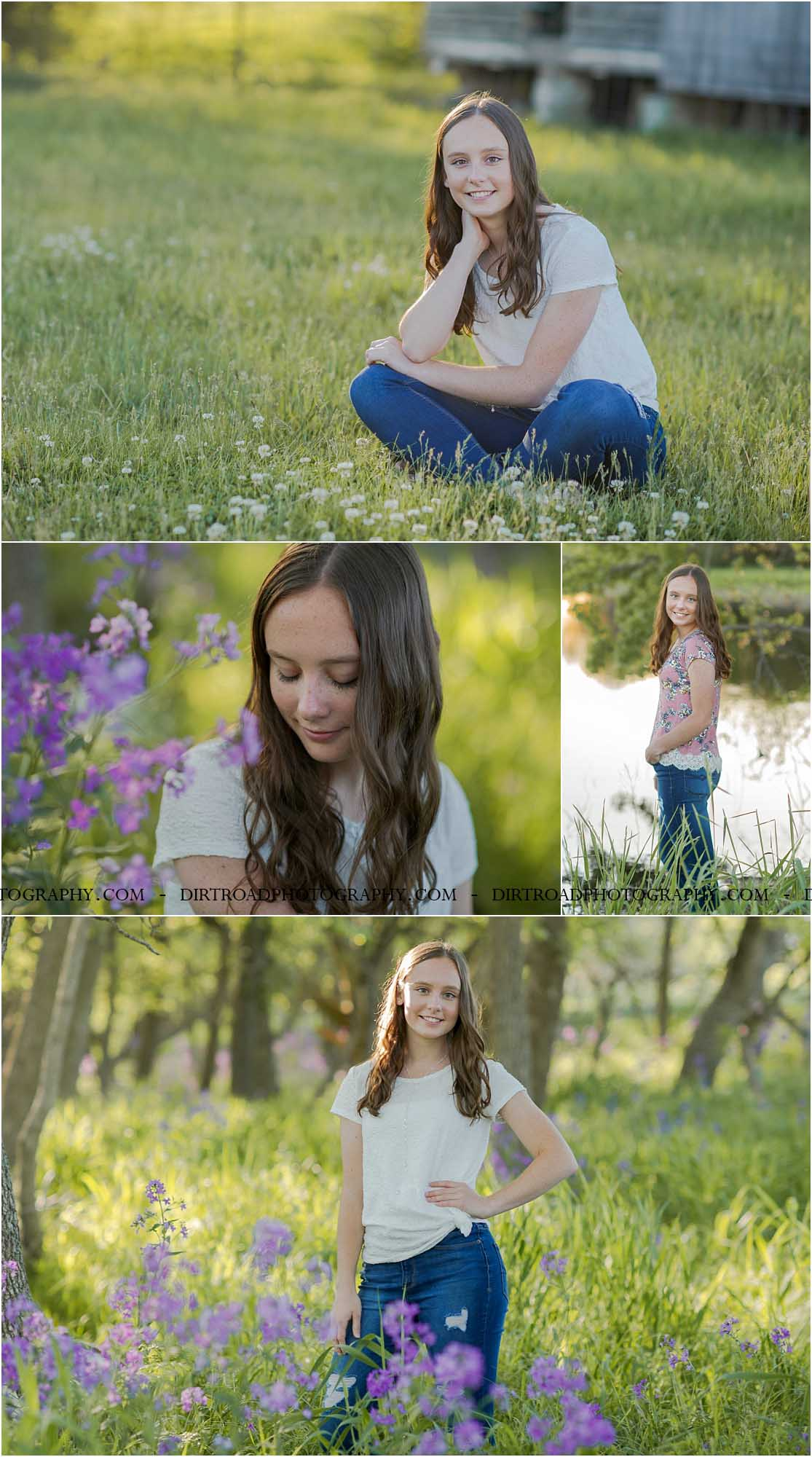 images of high school girl senior photos named shelby timmerman of clatonia nebraska who went to wilber-clatonia high school in nebraska and is part of the class of 2020. photos were taken near swanton nebraska in saline county. photo includes purple spring flowers at sunset with girl in white fitted shirt with knot tied on the side and jeans standing in tall natural grass with trees surrounding her. teen has curly long brown hair. photos taken at sunset near water and farm pond. photographer is kelsey homolka nerud of wilber nebraska who specializes in high school senior photography and senior pictures.