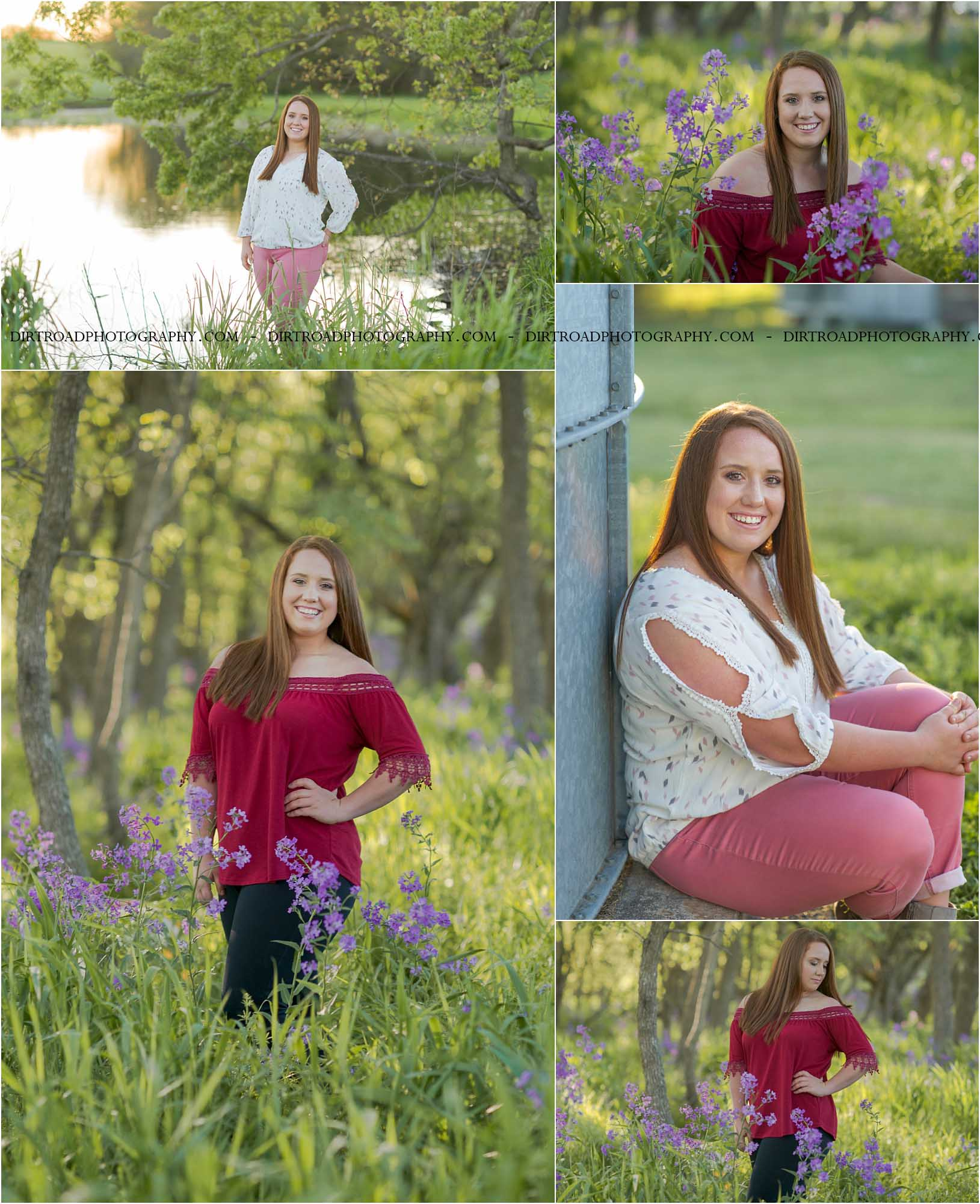 images of high school girl senior photos named janae nitzsche of milford nebraska who went to milford high school in nebraska and is part of the class of 2020. photos were taken near swanton nebraska in saline county. photo includes purple spring flowers at sunset with girl in black jegging jeans and maroon off the shoulders top with lace details standing in tall natural grass with trees surrounding her. teen has long red and brown colored hair. photos taken at sunset near water and farm pond. photographer is kelsey homolka nerud of wilber nebraska who specializes in high school senior photography and senior pictures.