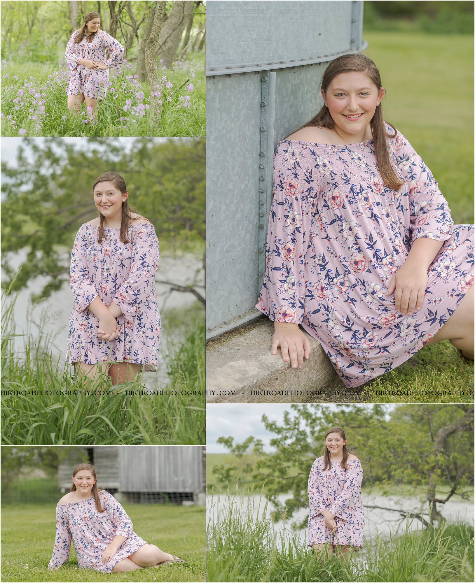 images of high school girl senior photos named lily zoubek of western nebraska who went to wilber-clatonia high school in nebraska and is part of the class of 2020. photos were taken near swanton nebraska in saline county. photo includes purple spring flowers at sunset with girl in pink floral dress standing in tall natural grass with trees surrounding her. teen has long brown hair. photos taken at sunset near water and farm pond. photographer is kelsey homolka nerud of wilber nebraska who specializes in high school senior photography and senior pictures.
