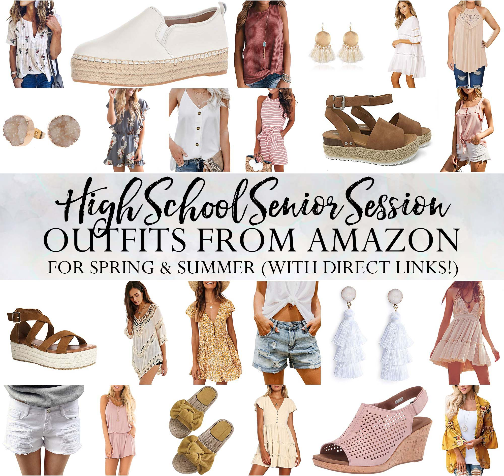 best of Amazon summer women's outfits for high school senior photo session with dresses, rompers, sandals, wedges, summer shorts, tank tops and other accessories.