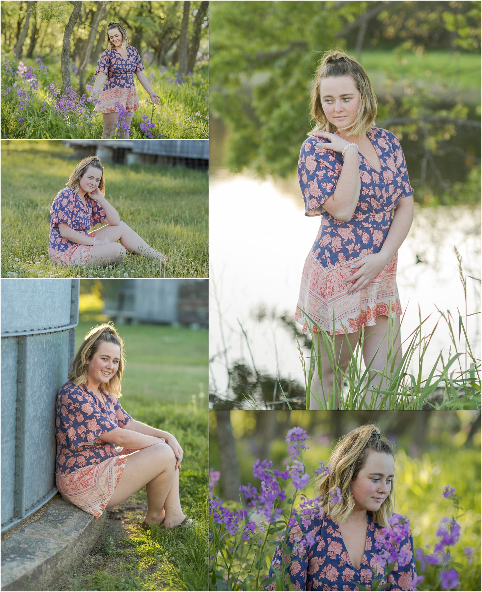images of high school girl senior photos named morgan of hickman nebraska who went to norris high school in nebraska and is part of the class of 2020. photos were taken near swanton nebraska in saline county. photo includes purple spring flowers at sunset with girl in floral romper with blue, yellow, red and white colors standing in tall natural grass with trees surrounding her. teen has short high lighted hair. photos taken at sunset near water and farm pond. photographer is kelsey homolka nerud of wilber nebraska who specializes in high school senior photography and senior pictures.