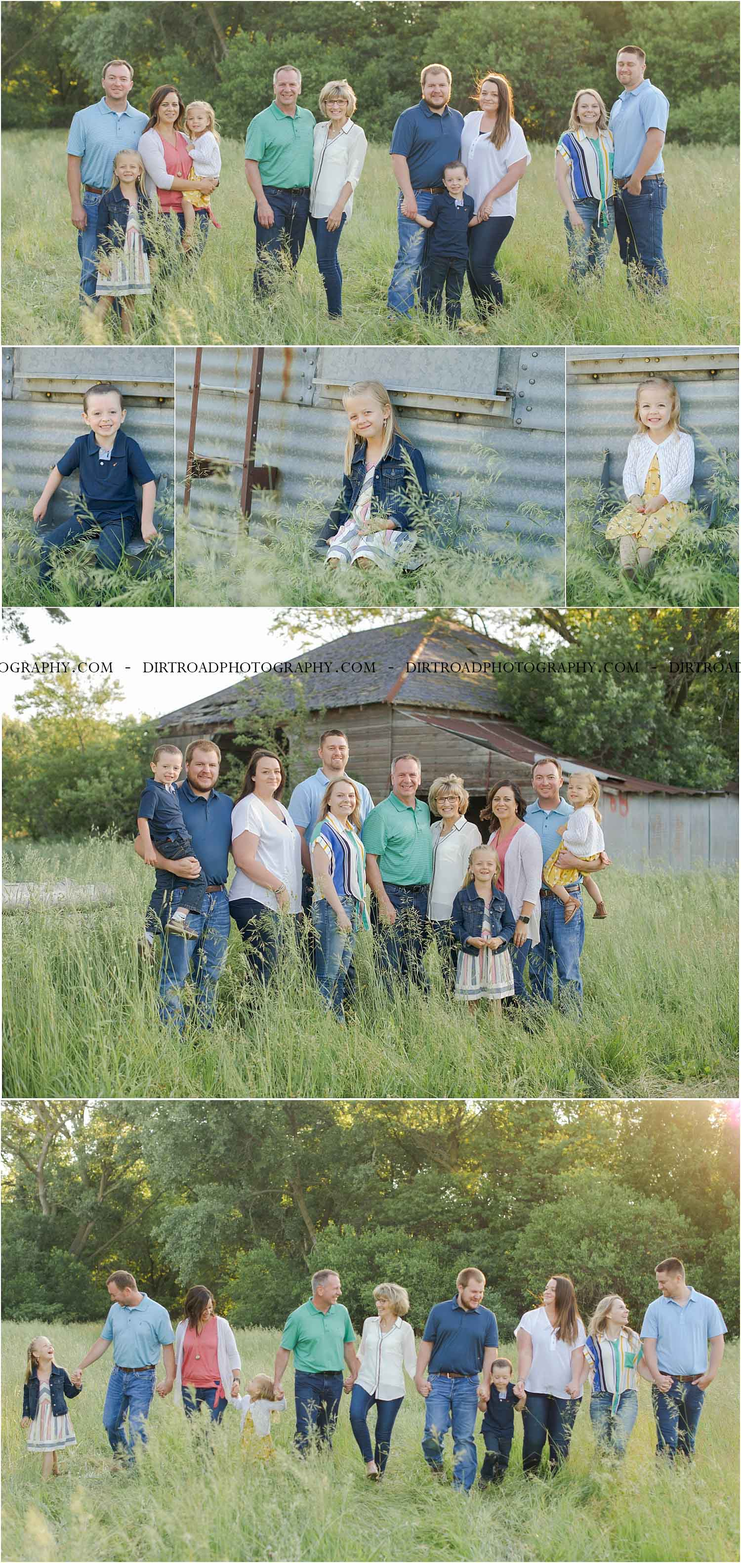 images of fairbanks family, three generations, from fairbury nebraska, beatrice nebraska, lincoln nebraska and omaha nebraska. photos taken in southeast rural area near wilber nebraska on a gravel road at sunset with family walking towards camera. family is dressed in navy, coral, light blue, cream, white, stripes and blue jeans with sandals. surrounded by tall grass in early spring with short corn and soybeans starting to grow. family standing in tall grass with trees in the background. grandparents are looking at camera while kids looking at parents. photo taken by dirt road photography and photographer is kelsey (homolka) nerud.