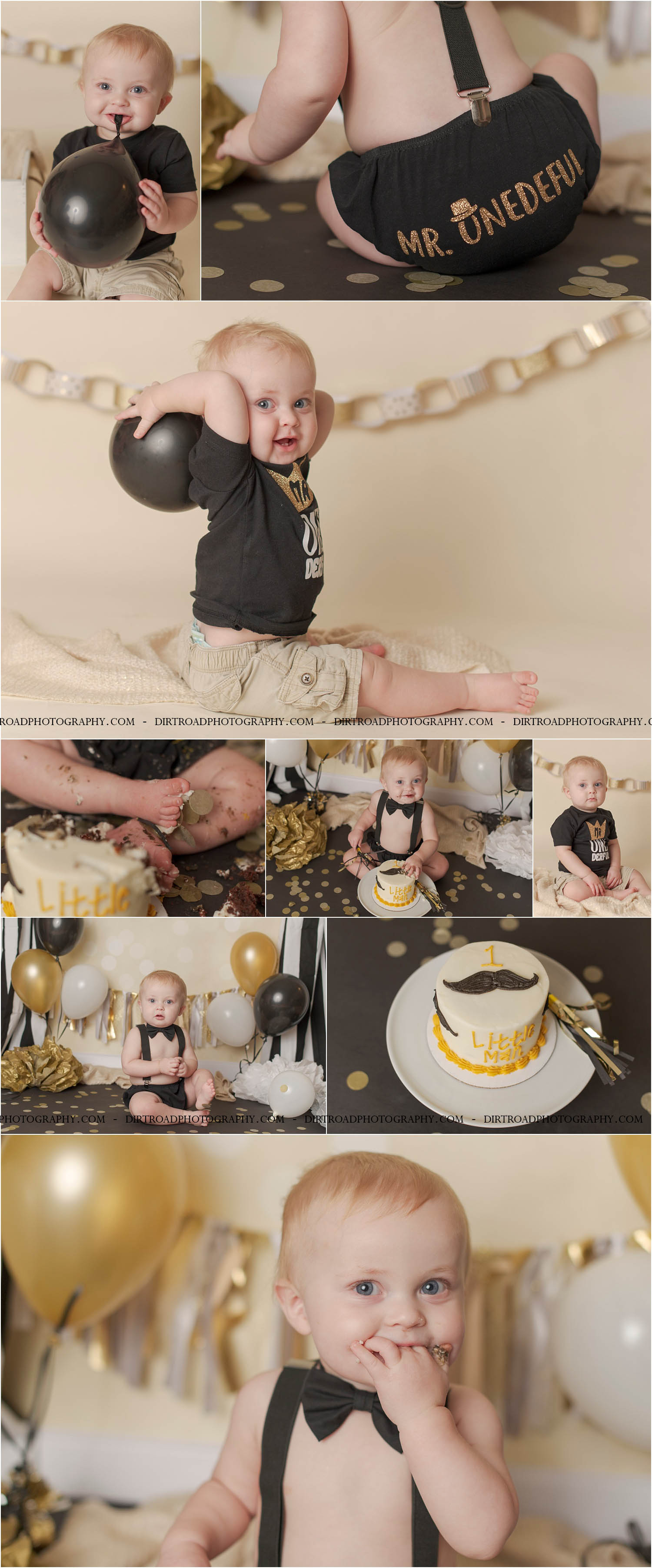 picture of one year old little boy in black diaper cover with mr. onederful on the back in gold letters sitting eating white frosting cake with little man written on it with mustaches sitting on black seamless paper with gold confetti. backdrop is gold and cream bokeh and has curtains of black and white curtains hanging with black, white and gold balloons as well as tissue pompoms. Waylon is celebrating his first birthday near lincoln, nebraska. photo taken by dirt road photography near wilber nebraska.
