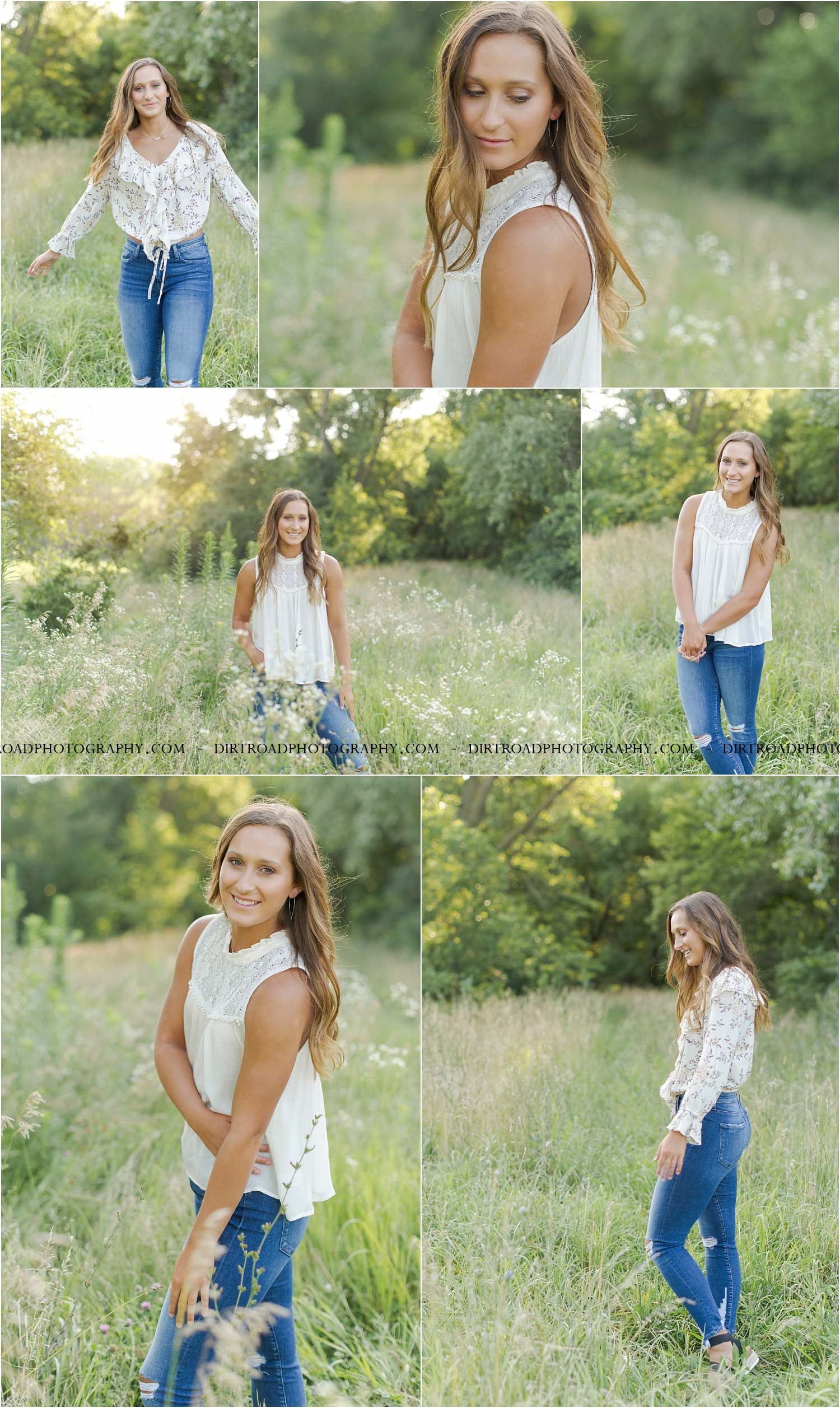 images of high school girl senior photos named tia kreshel of wilber nebraska who went to wilber-clatonia high school in wilber nebraska and is part of the class of 2020. photos were taken near wilber nebraska in saline county at farms. photo includes grain bins, tall grass, rustic barns, summer white wildflowers. tia is wearing white floral flowy top with blue denim jeans as well as floral off the shoulder dress and sandals. girl has long brown curly hair and styled make-up. dirt road surrounded by trees and dust at sunset. tall grass with a sunset behind as well. photographer is kelsey homolka nerud of wilber nebraska who specializes in high school senior photography and senior pictures.