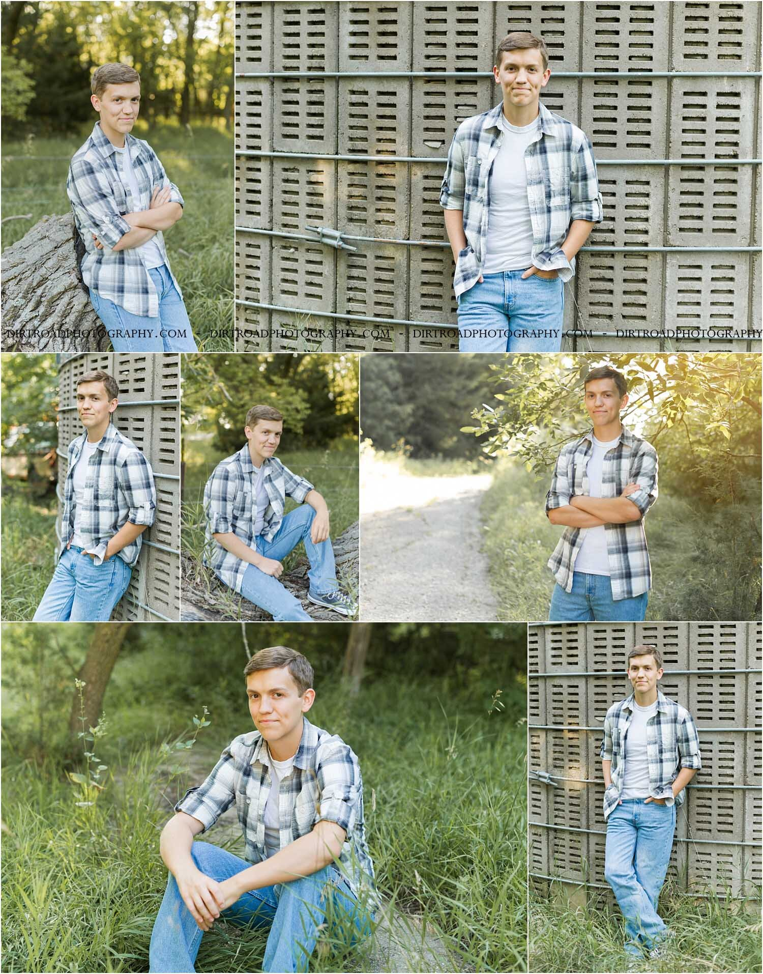 images of high school senior guy named damian of wilber, nebraska. he went to wilber-clatonia high school and is part of the class of 2020. photos include trees, tall grass, and farm scenery at sunset with a boy wearing plaid shirt and jeans as well as graphic tshirts. photographer is kelsey homolka nerud of wilber nebraska who specializes in high school senior photography and senior pictures.