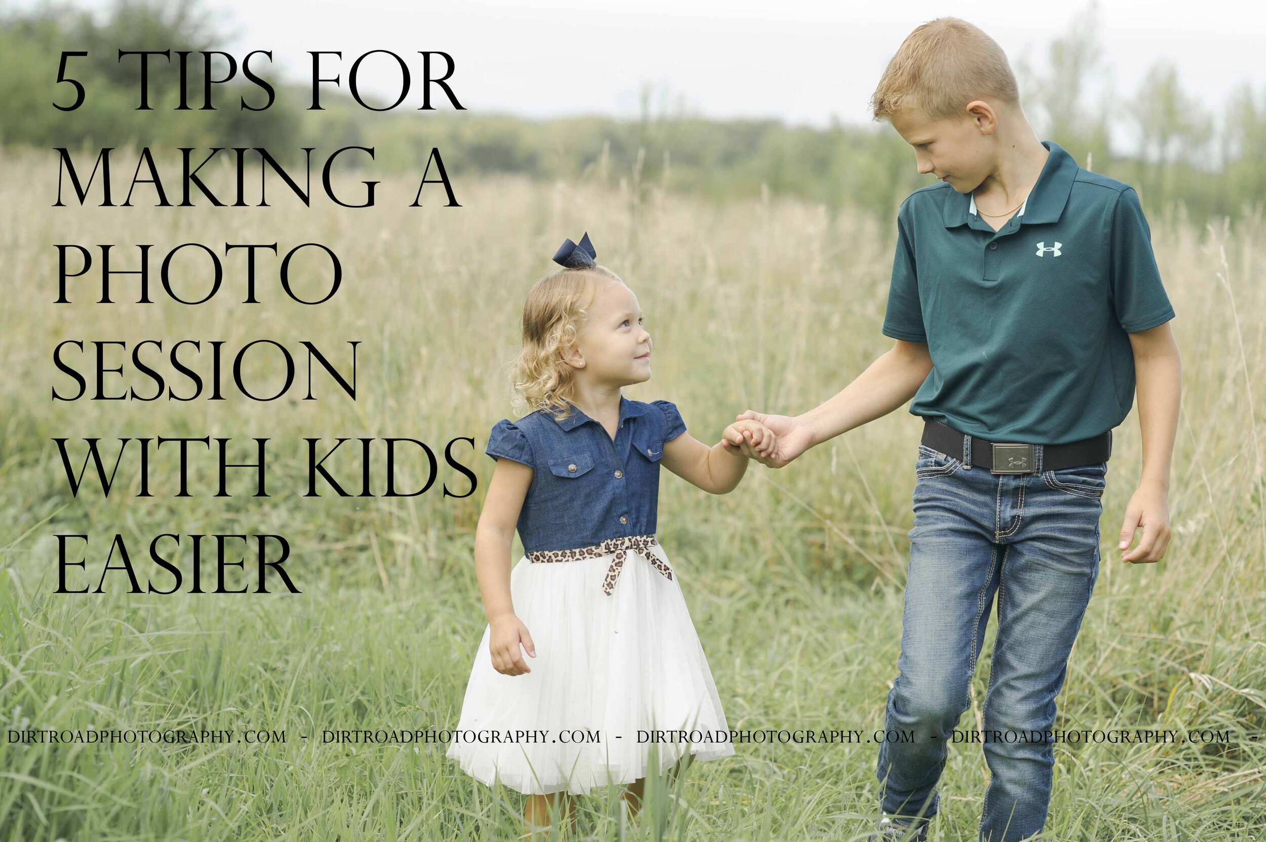 5 tips for making a photo session with kids easier. nebraska photographer images of little boy and girl holding hands walking in grass field at sunset in southeast nebraska near lincoln. photo taken by dirt road photography and photographer is kelsey (homolka) nerud.