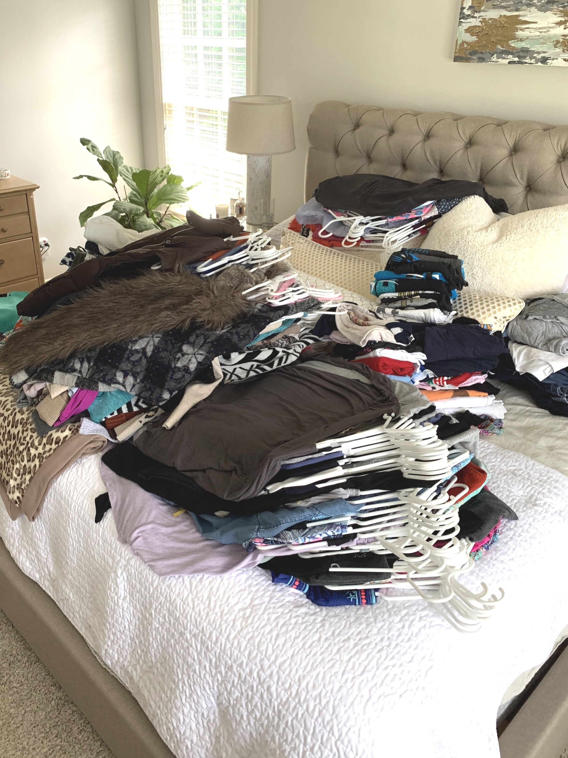 Mountain of clothes - this was taken when we were about halfway done!