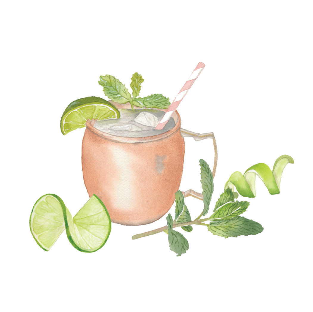 Moscow Mule with garnishes