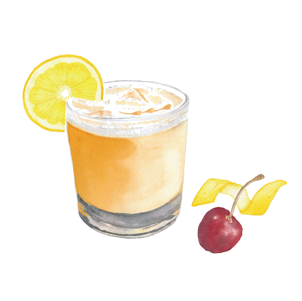 Whiskey Sour with garnishes
