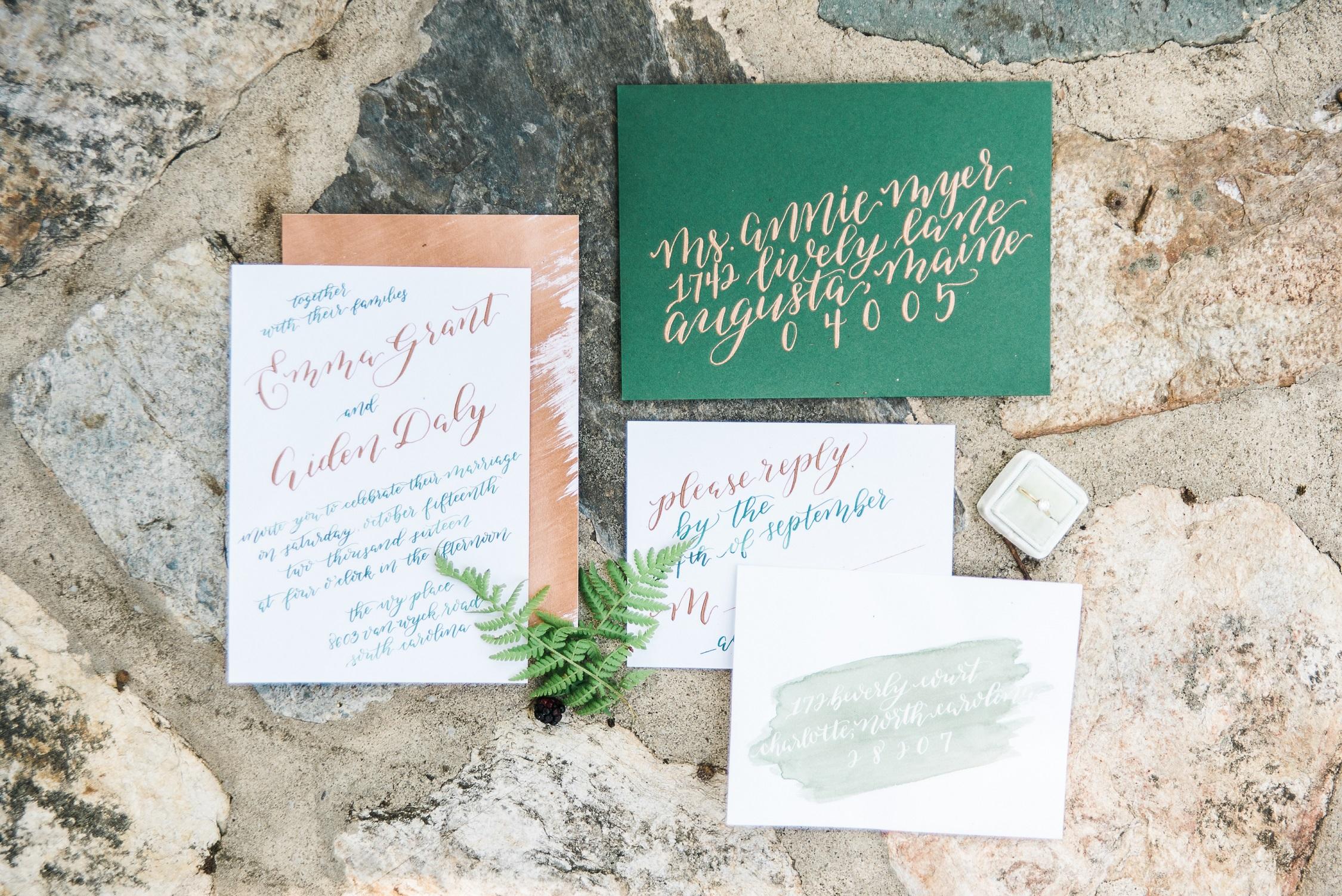 Green & copper invitation suite