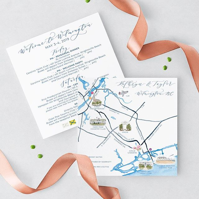 One of my favorite parts of this invitation suite is the watercolor map/itinerary! We incorporated some of the illustrations you've been seeing on my stories and in my posts, as well as the nautical flags that represent the couple's wedding date. What makes this one a little extra special to me is that Wilmington is one of my favorite towns and where I went to college! 😁 it was so much fun painting the venues for this suite and remembering some fun college times! (@katbreeden @taylorlap @ashleyandersoncreation @lauren13031) And now I get to go back again to celebrate @kathrynmhorn and Taylor! 💙💙💙