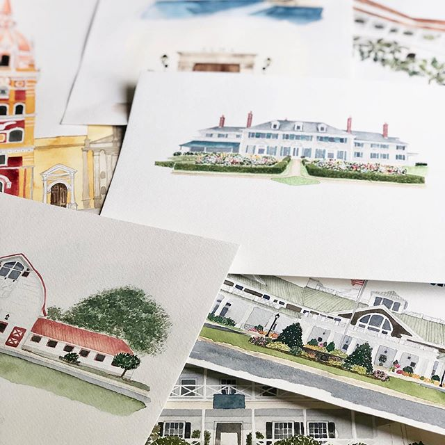 It's fun looking at some of the artwork I've done over the past year! Some of these went on invitations, some on maps, some are being used as client gifts...I mean, the possibilities really are endless! 💙 where would you use a custom watercolor illustration??