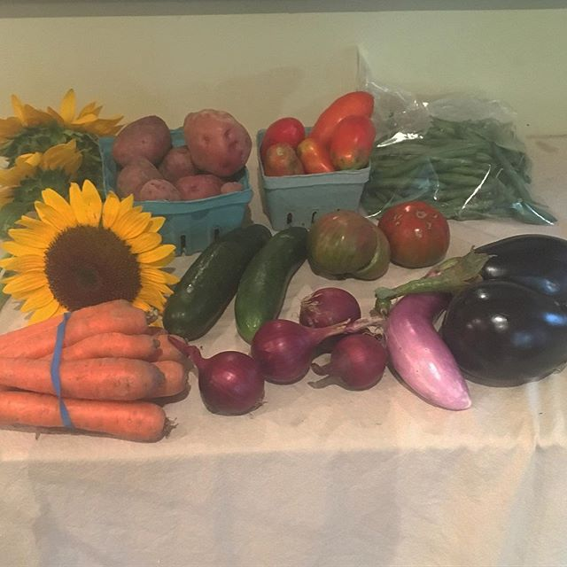 Thursday's CSA share: carrots, sunflowers, potatoes, cucumbers, red onions, paste and heirloom tomatoes, eggplant  and green beans