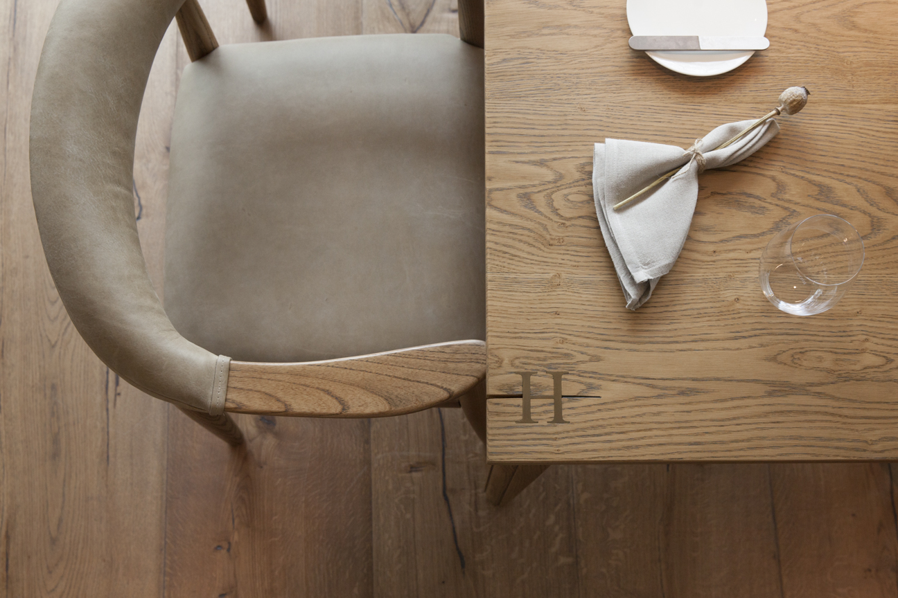 Above restaurant at HIDE, These White Walls bespoke table & chair detail