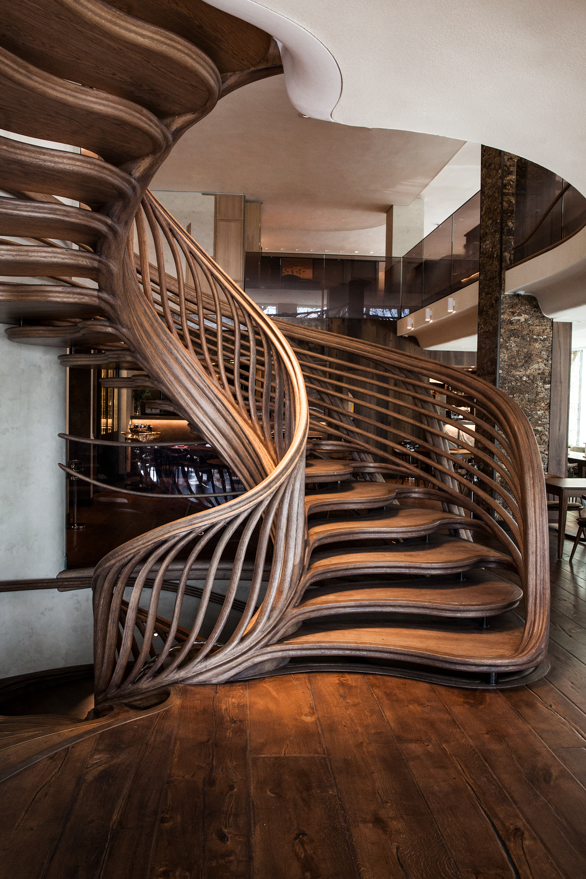 GROUND restaurant, with Atmos feature spiral staircase
