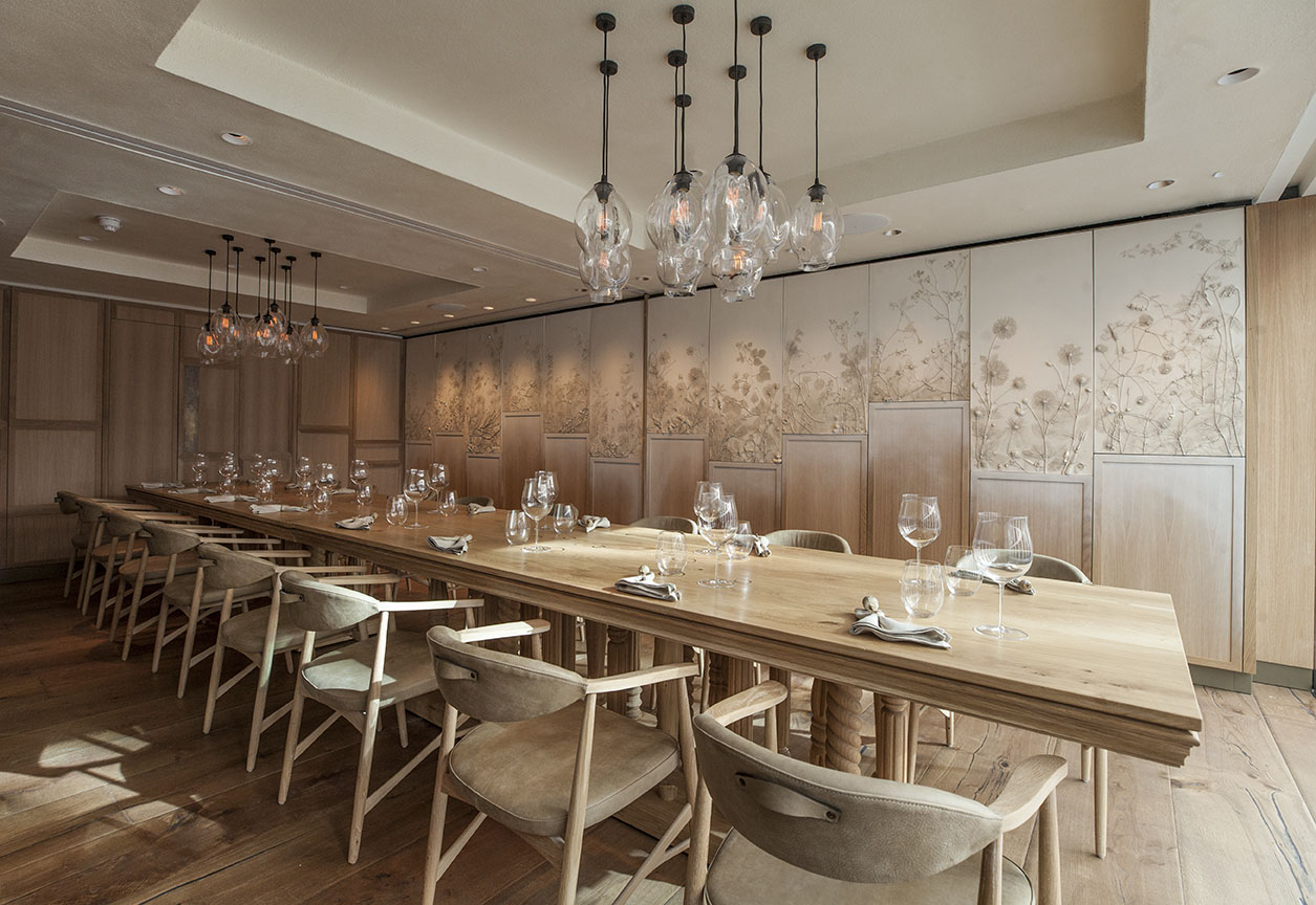 Private dining room designed by These White Walls Studio for Hide Restaurant, London.