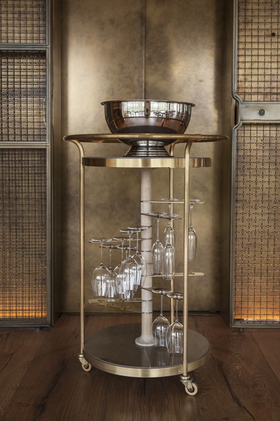 Bespoke champagne trolley designed by These White Walls Studio for Hide Restaurant, London.