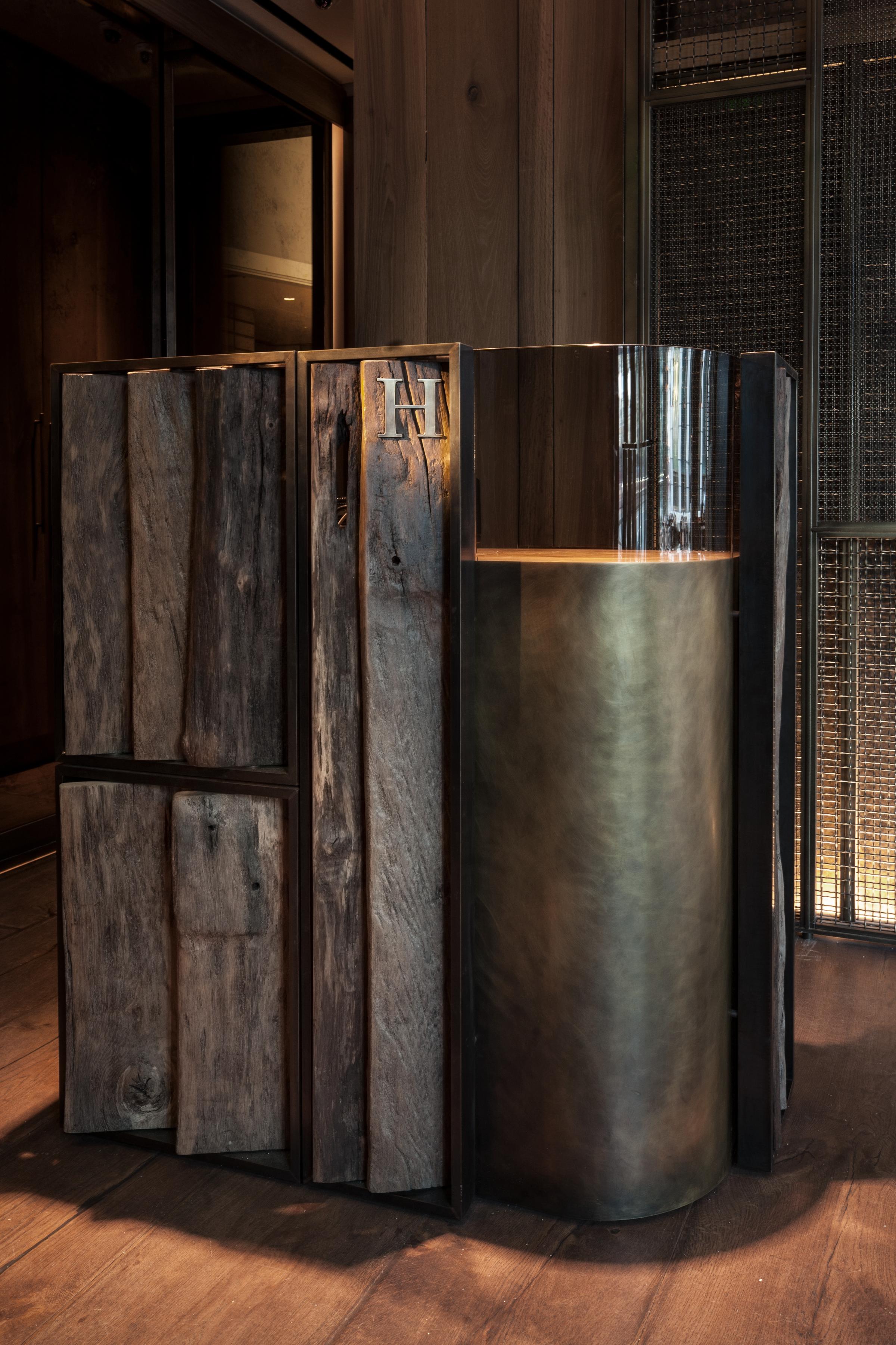 These White Walls Studio Interior Design Hide Restaurant London Bespoke Furniture Design Reception Desk Patinated Brass Reclaimed Wood.jpg