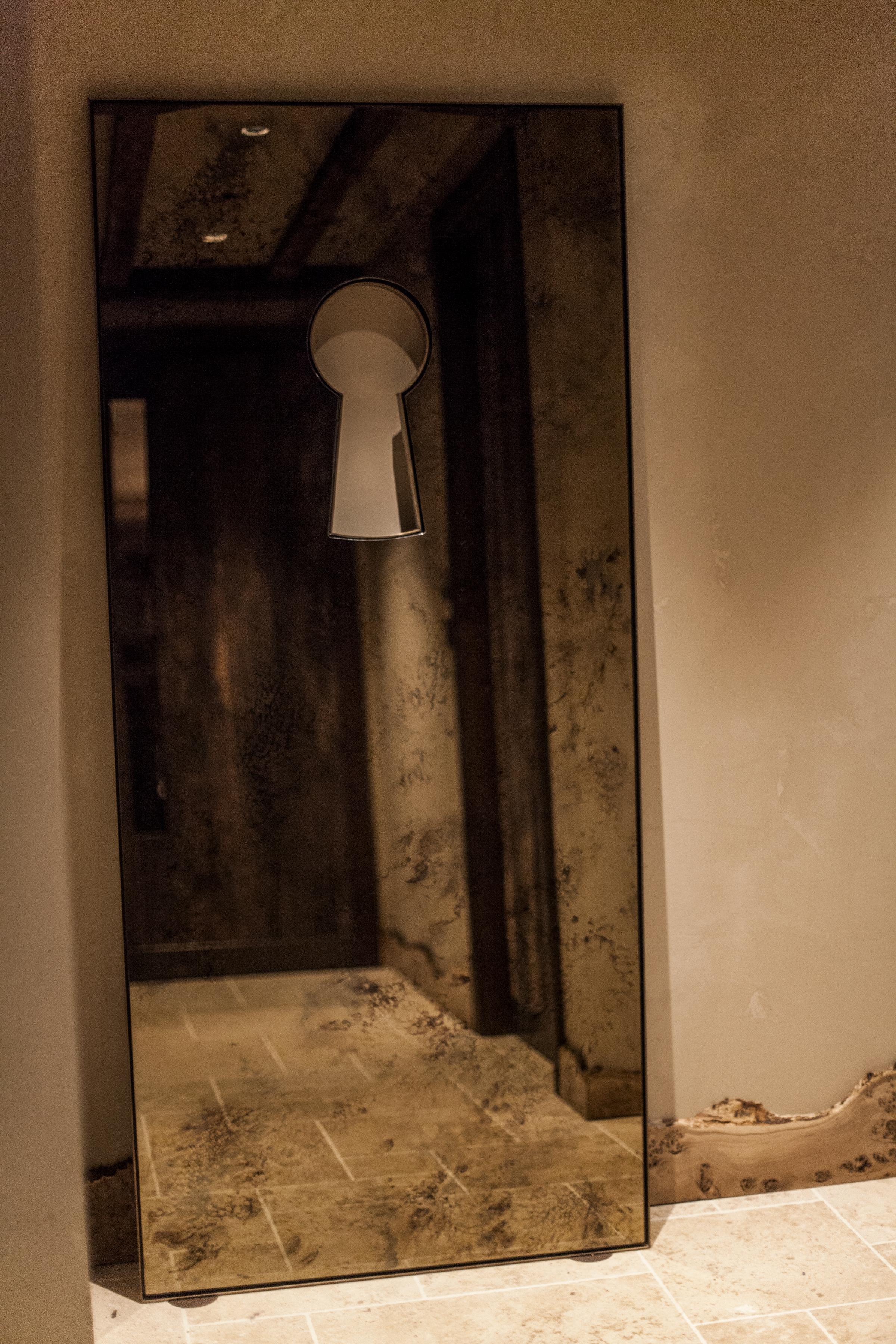 Bespoke Mirror Key Hole Design Antique Bronze Mirror Details These White Walls Studio Interior Design Hide Restaurant London.jpg