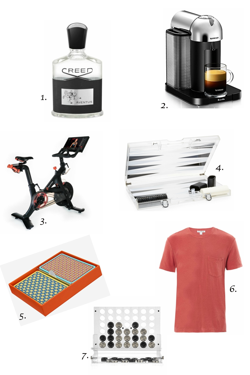 1.  Creed Aventus cologne   2.  Nespresso machine   3.  Peloton bike   4.  Lucite backgammon set   5.  Hermes playing cards   6.  James Perse t-shirt   7.  Lucite connect 4 set