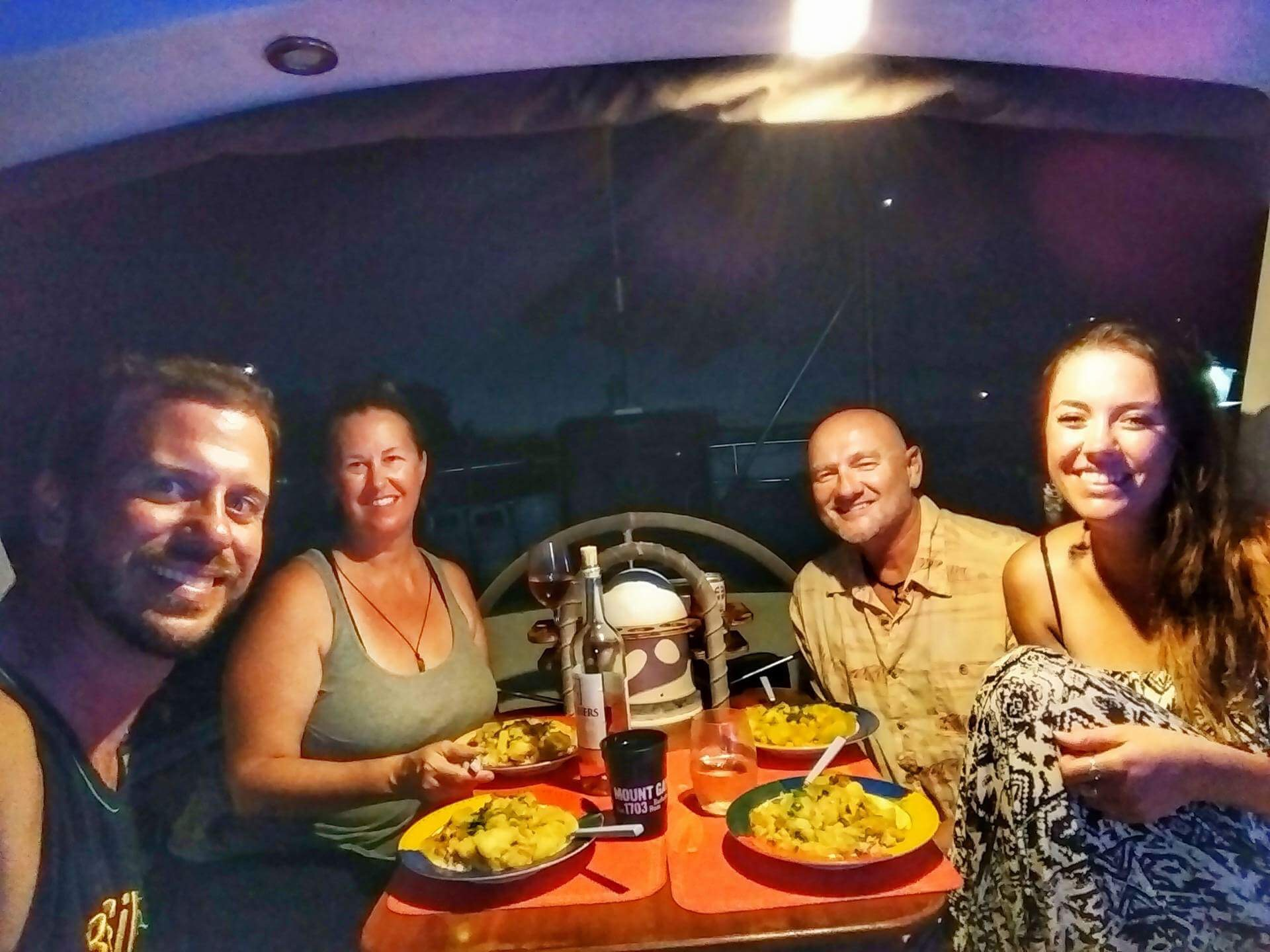 Dinner with Cheri and Allen from Texas in Sainte Anne. Vegan curry by yours truly.