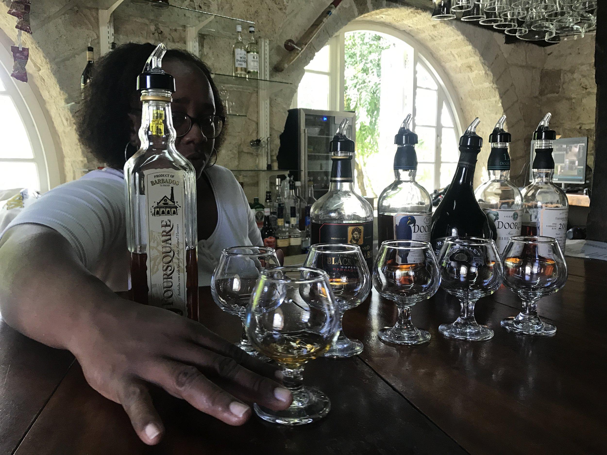 Rum tasting at Foursquare Distillery.