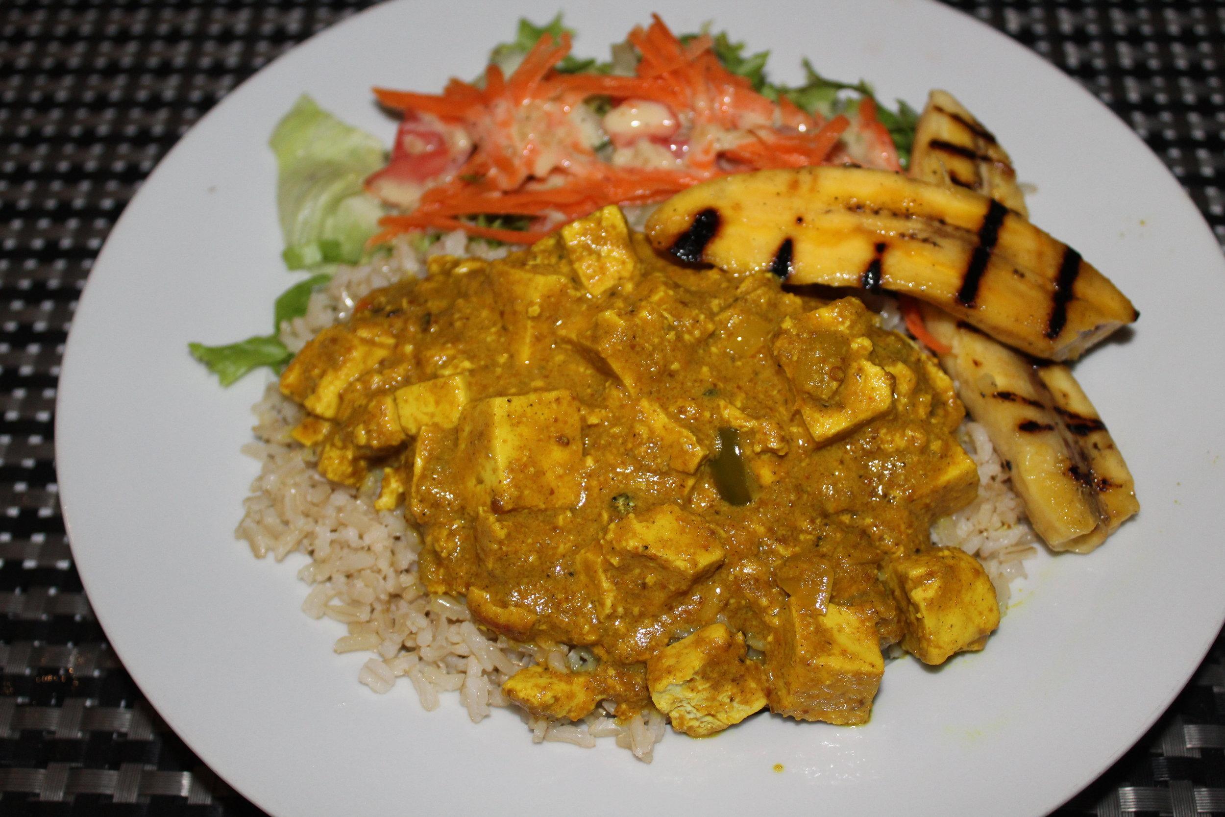 Coconut tofu curry $14 USD.