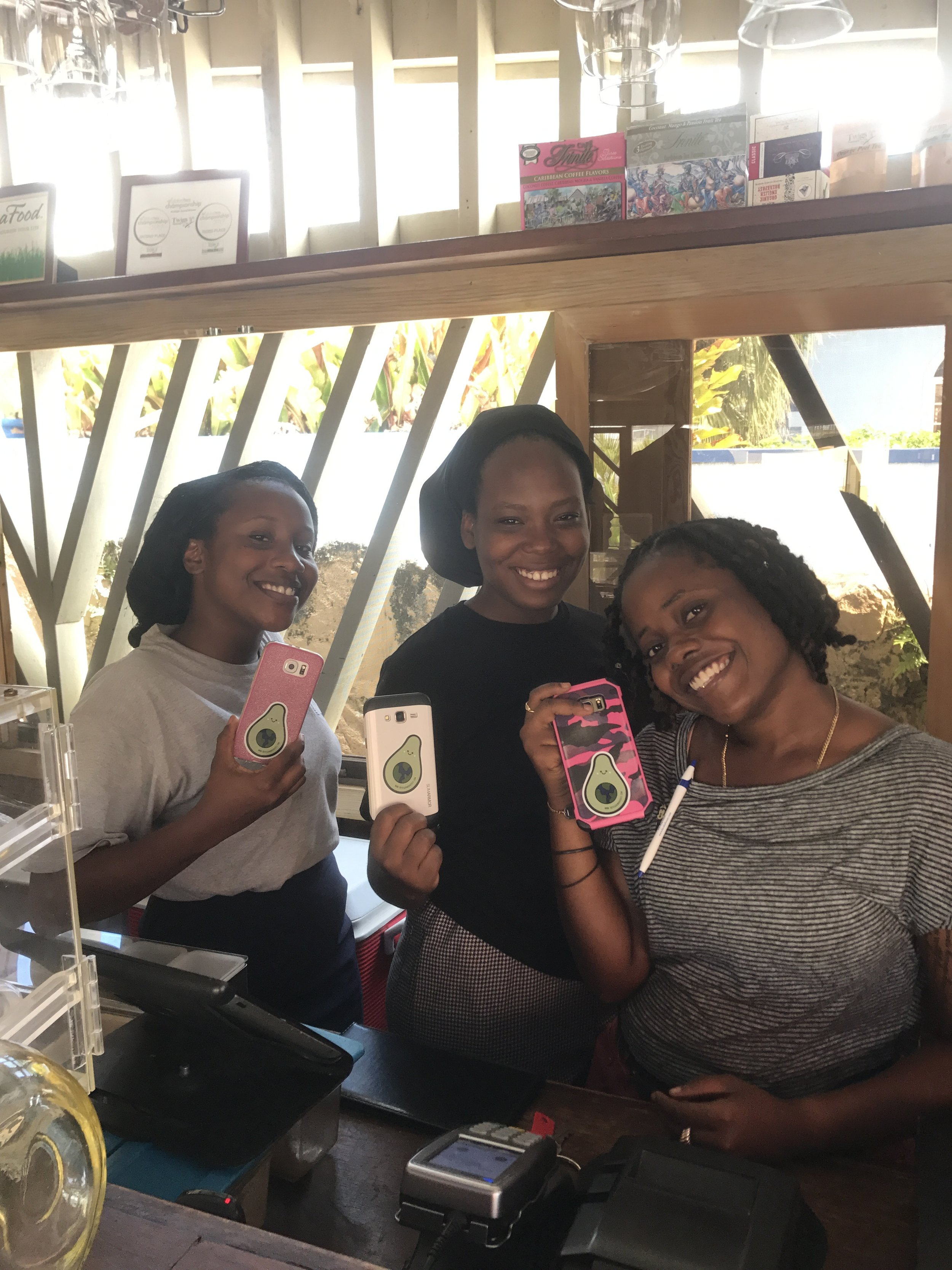 The lovely staff of The Good Life rocking their new Vegan Wanderess stickers.