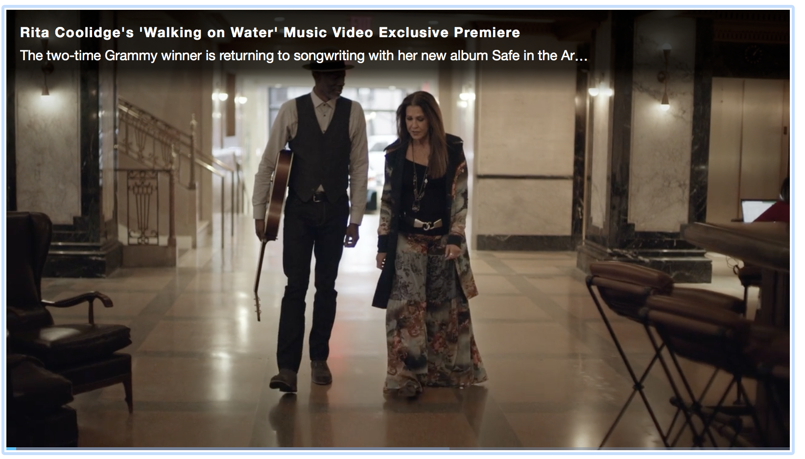 """The world premiere of Rita's music video of """"Walking on Water"""" featuring Keb Mo from her upcoming record """"Safe in the Arms of Time"""" due out May 4th. -"""
