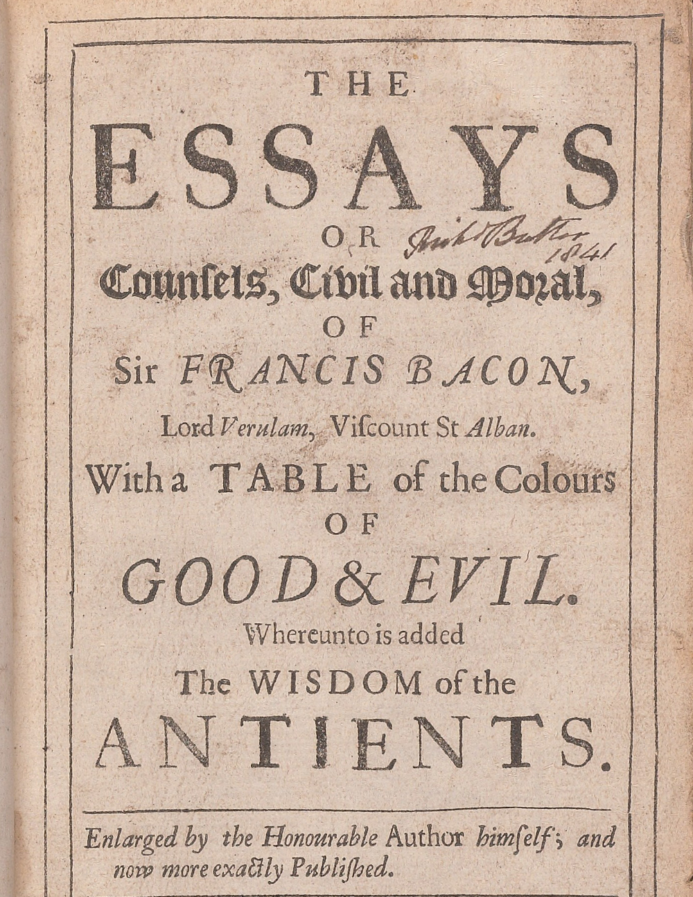 Francis Bacon,  The essays or counsels, civil and moral  (London, 1680).  Courtesy of the  Beinecke Rare Book and Manuscript Library .  Appears: Writing