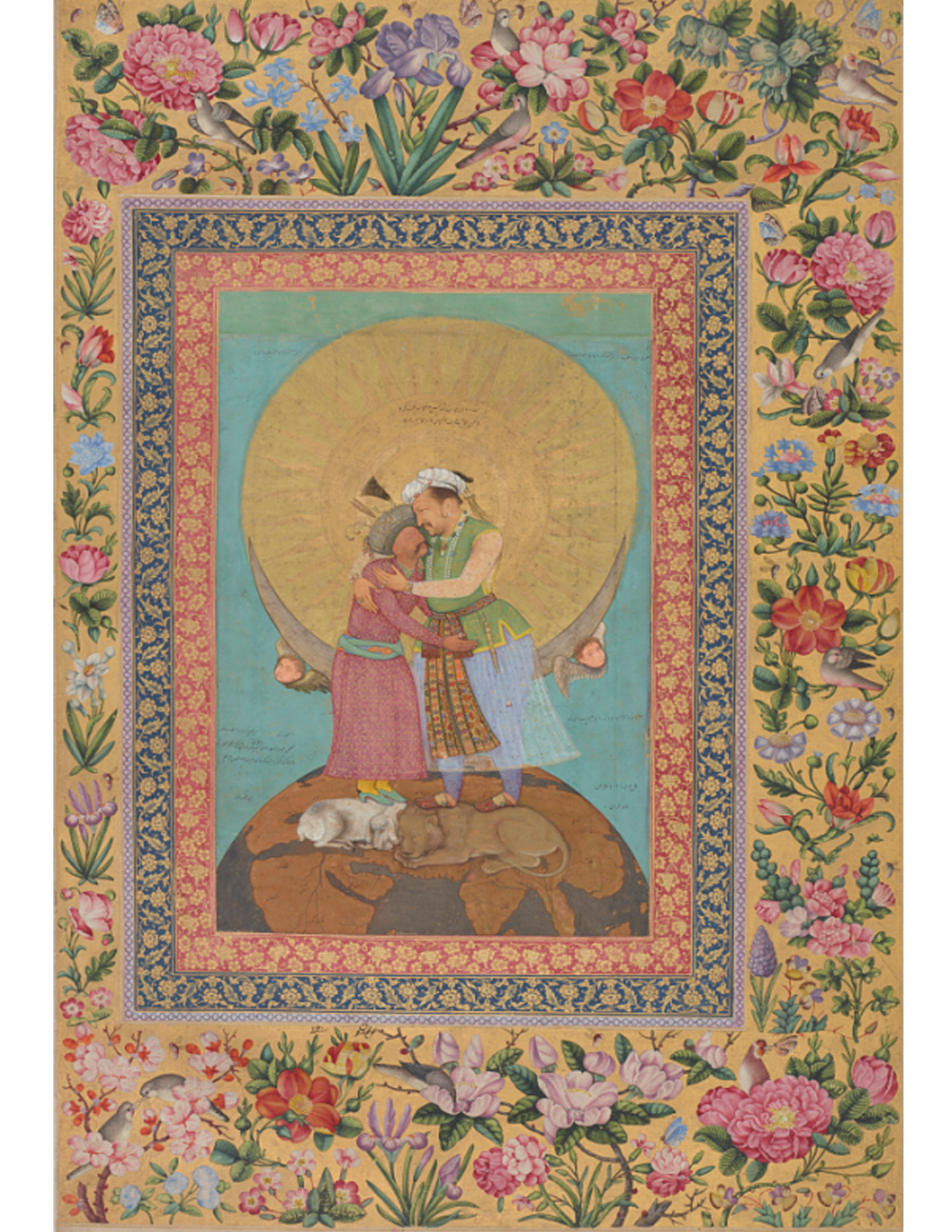 Abu'l Hasan, Allegorical representation of Emperor Jahangir and Shah Abbas of Persia from the  St. Petersburg Album.     Freer Gallery of Art   Appears:  Writing
