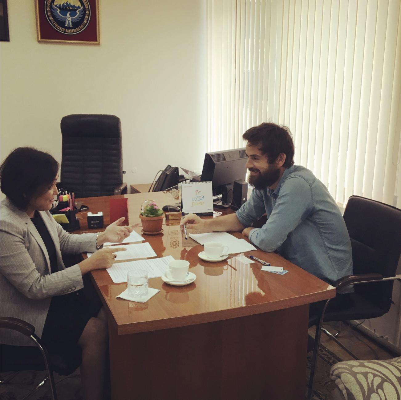 Interviewing Aida Kasymaliova. Bishkek, Kyrgyzstan.