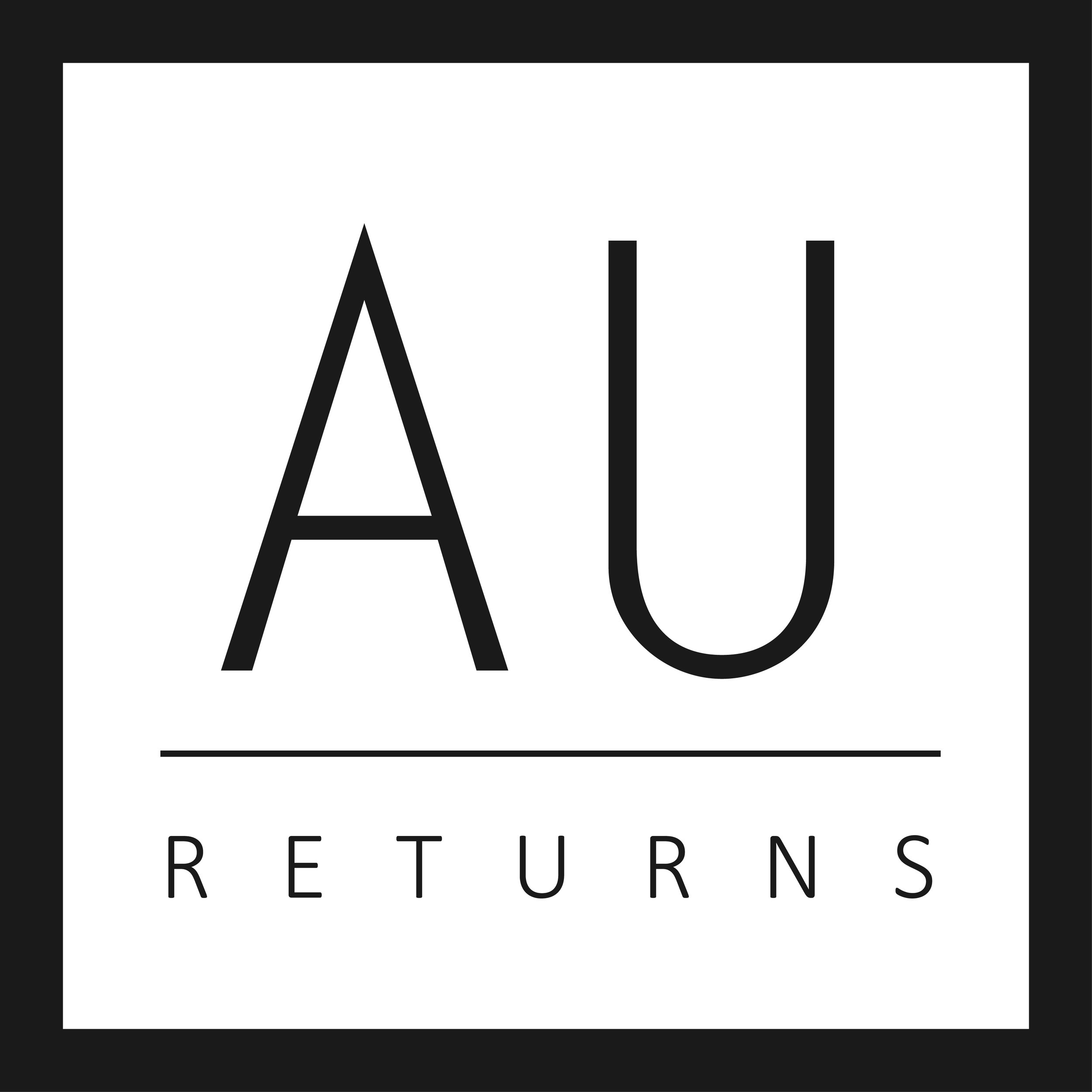 "The main AU logo, version 1. The text ""Returns"" could be replaced with other content, such as other edition titles, or more generically, ""At the UW,"" as it appears now."