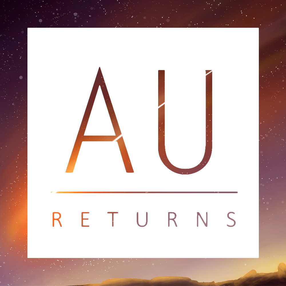 AU Returns Logo With Comet Background, Inverted