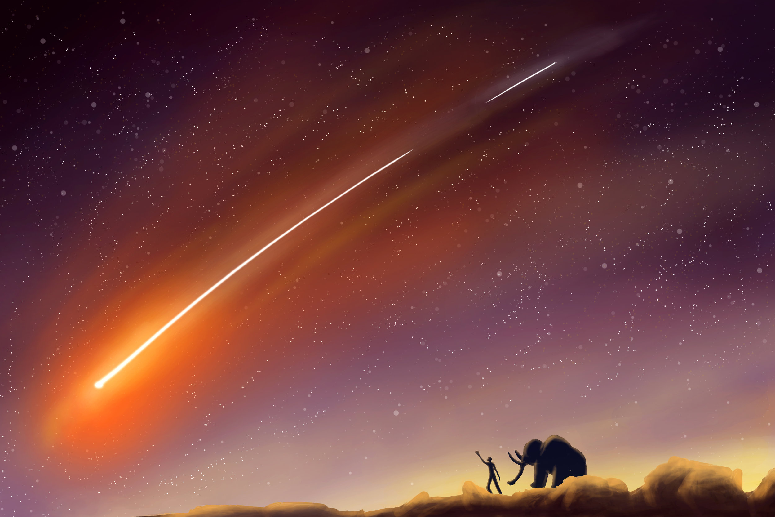 Titled  Comet,  this image became the main image on the front page of the website. I digitally painted the image using Photoshop and a Wacom drawing tablet.