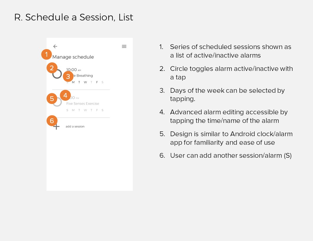Annotations 16: R. Schedule a Session, List