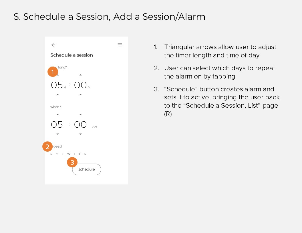 Annotations 17: S. Schedule a Session, Add a Session/Alarm