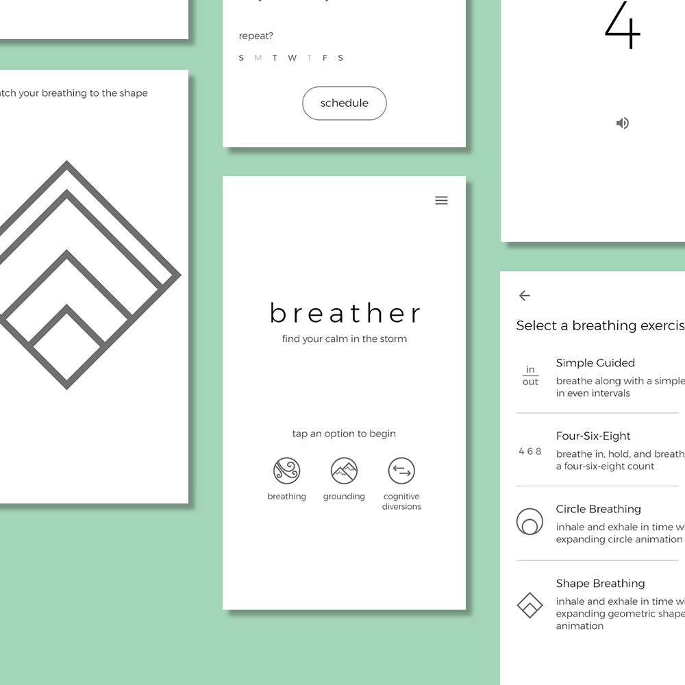 FINAL: BREATHER APP DESIGN - Inspired by some of my own experiences with anxiety, the Breather App is a minimalist approach to tackling anxiety and panic attacks, and takes a few components from A1.Read more about the final project here >