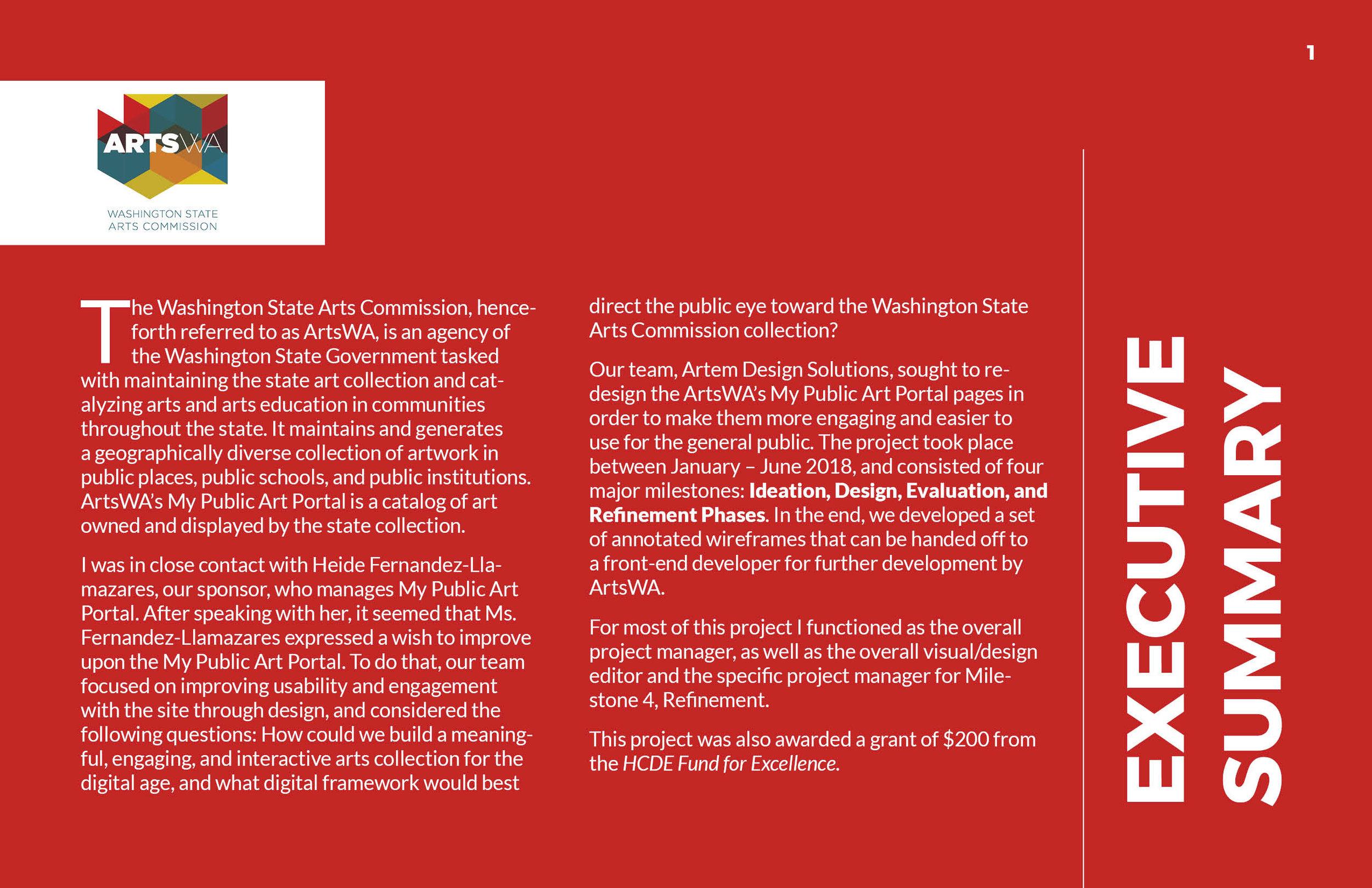 ArtsWA My Public Art Portal Process Book Executive Summary
