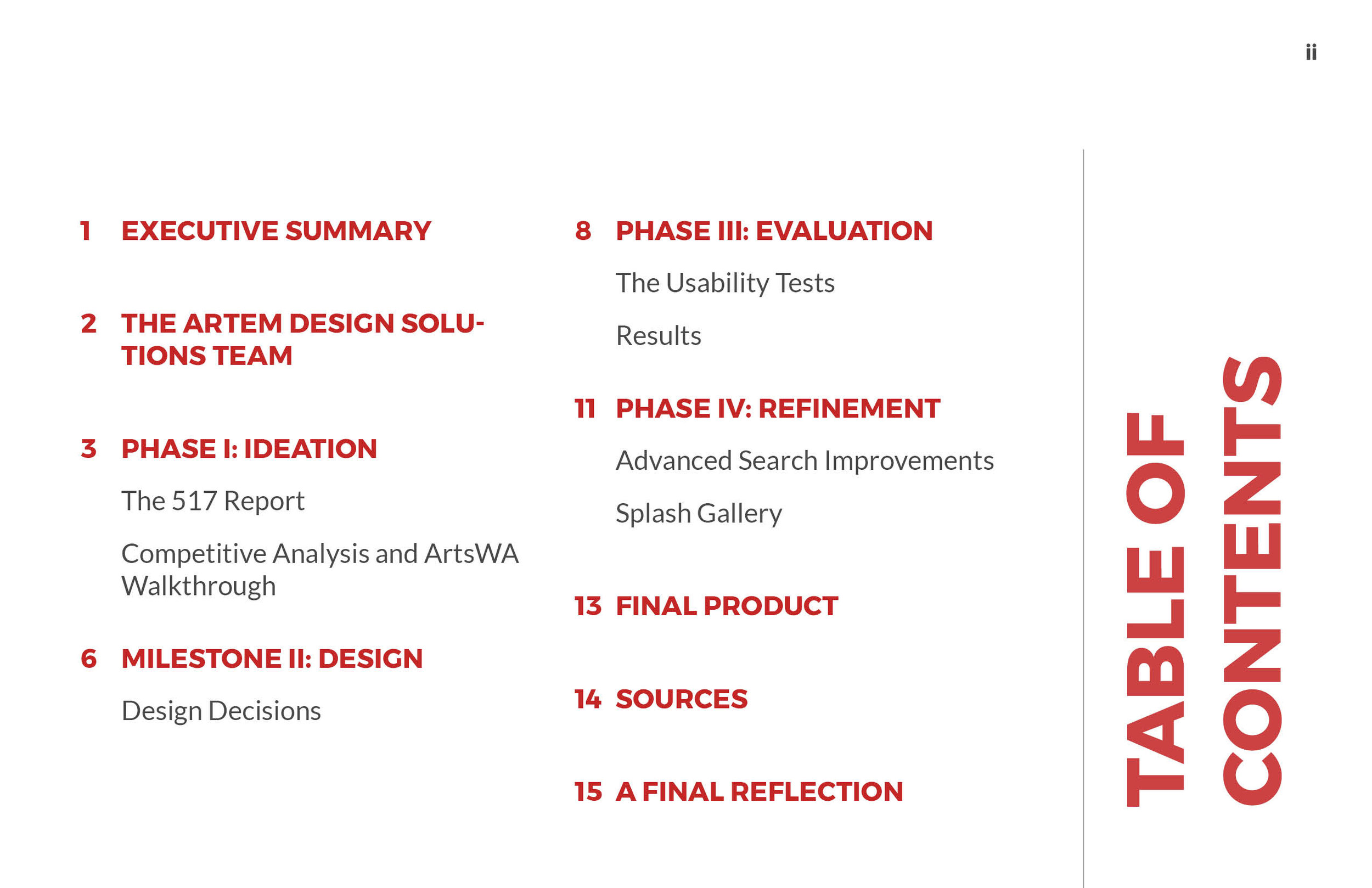 ArtsWA My Public Art Portal Process Book Table of Contents