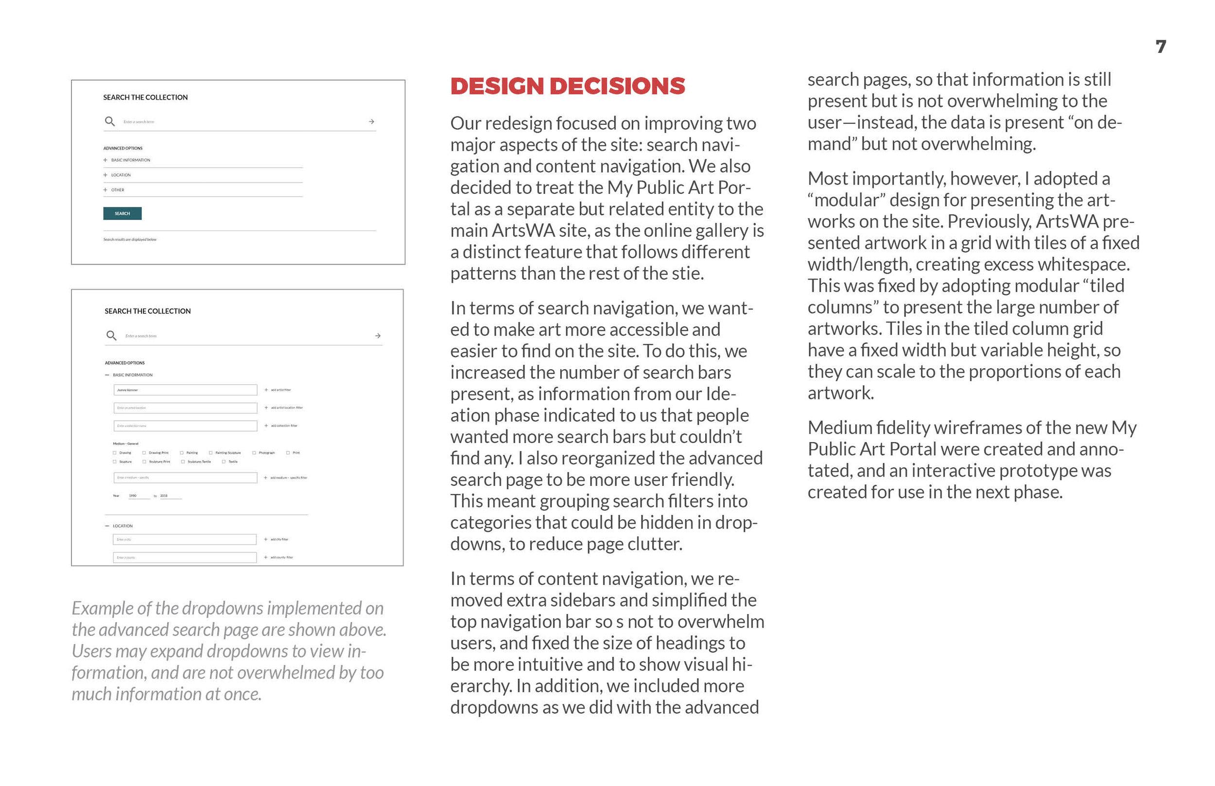 ArtsWA My Public Art Portal Process Book Design Page 2
