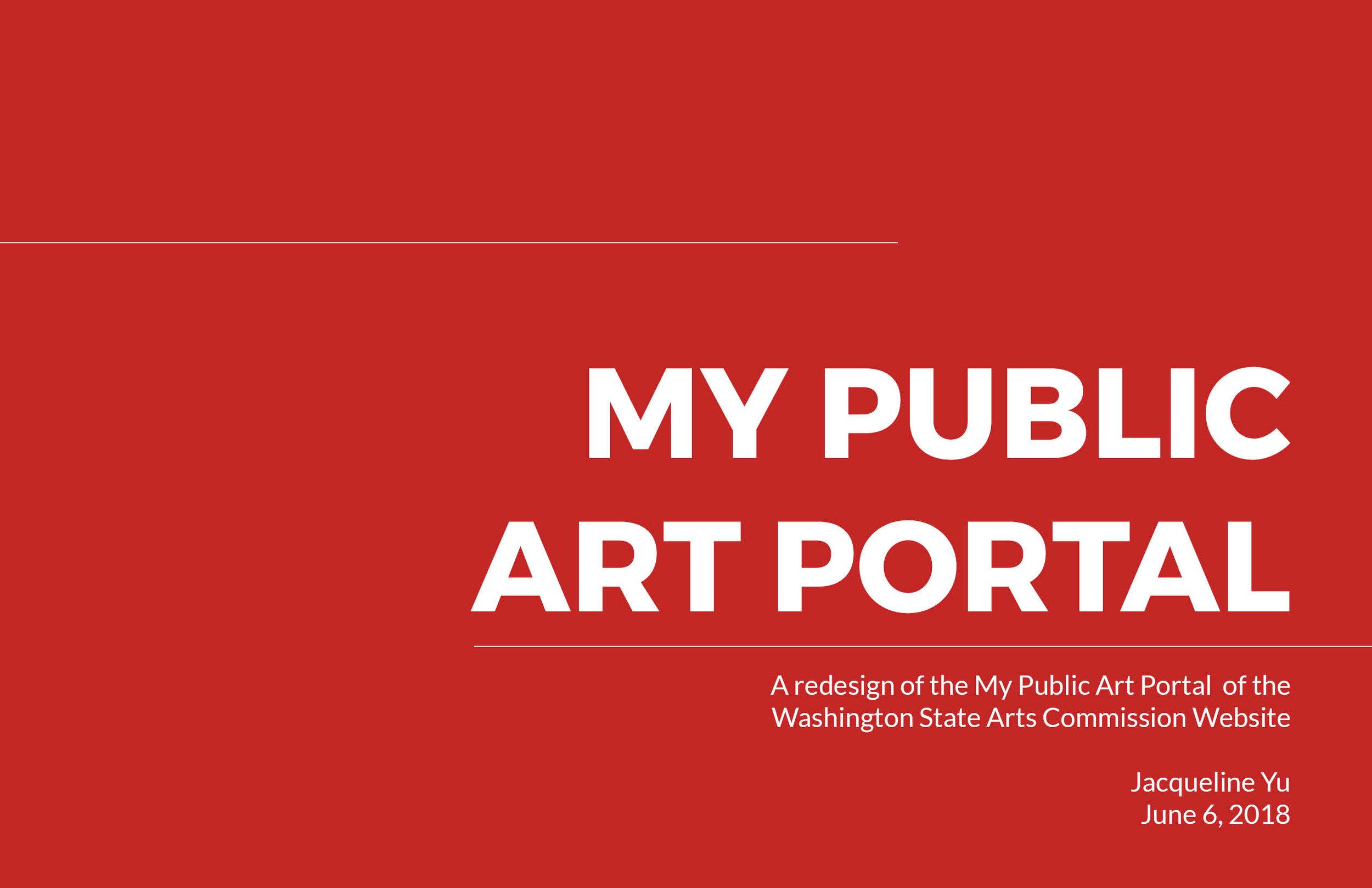 ArtsWA My Public Art Portal Process Book Title Page