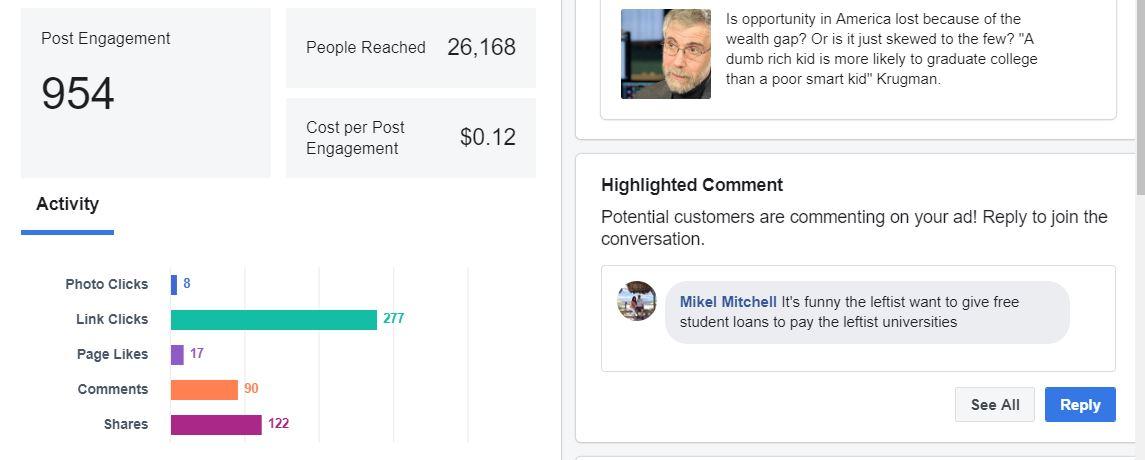 Matthew Albertell Facebook Advertising Schoozy Post Results Metrics.JPG