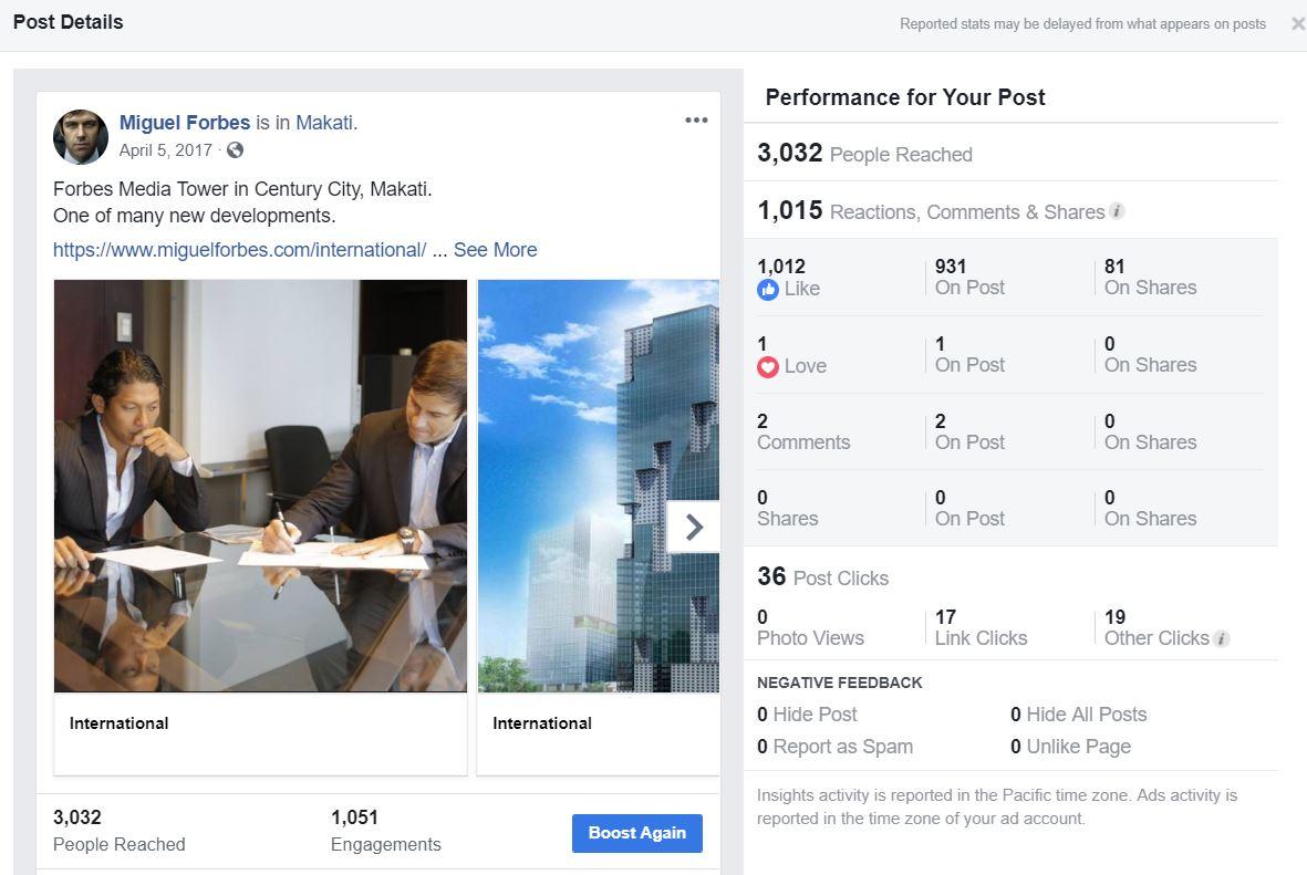1,000+ Likes, 81 Shares, 36 post clicks -