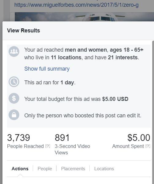 Matthew Albertell Facebook Advertising Zero Gravity Post Cost.JPG