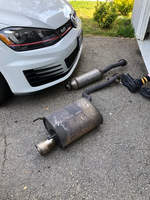 Old exhaust removed. -