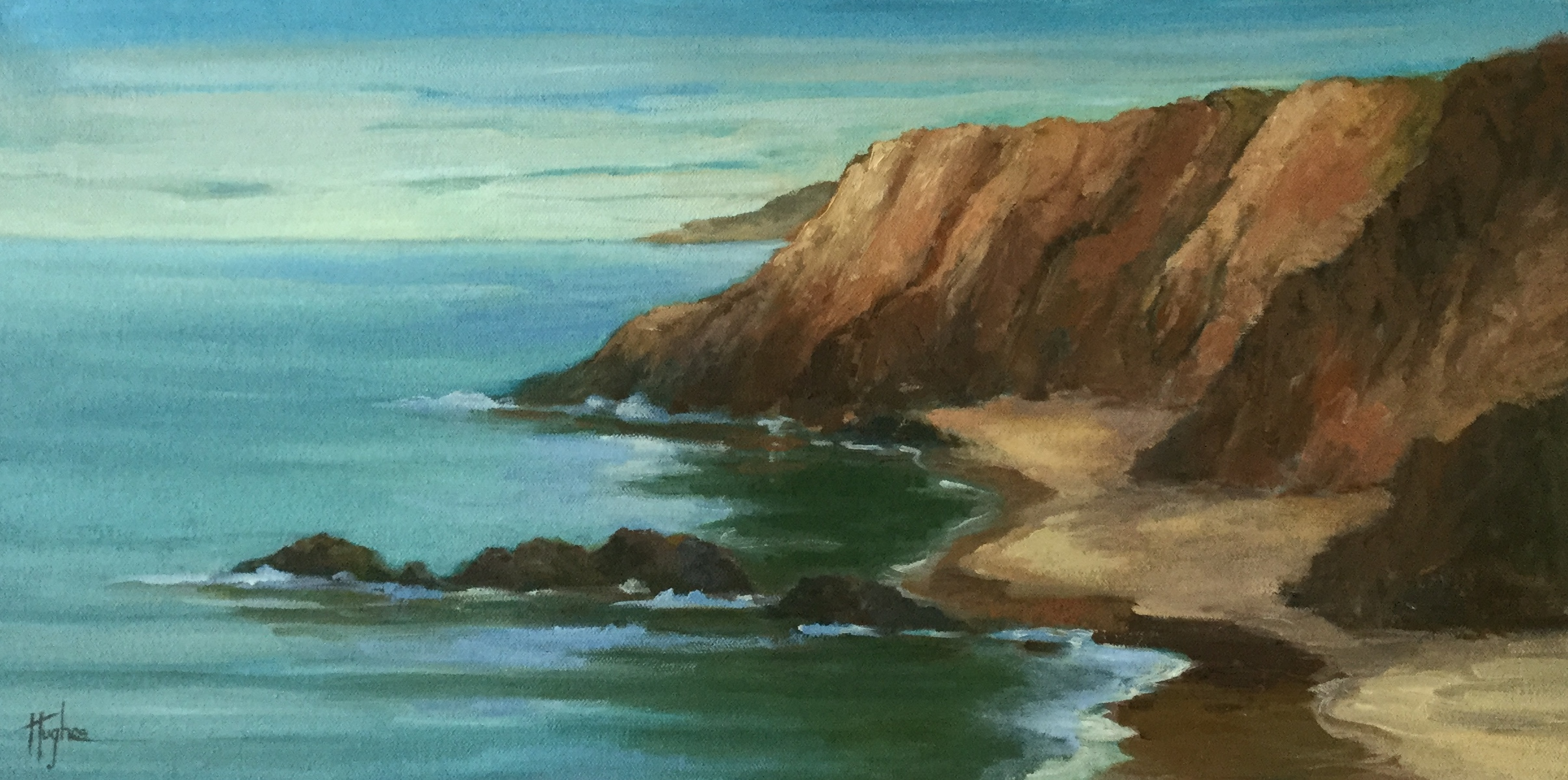 LATE LIGHT AT WHITE POINT , 12 x 24, Oil on Canvas, Second color sketch completed for LATE LIGHT