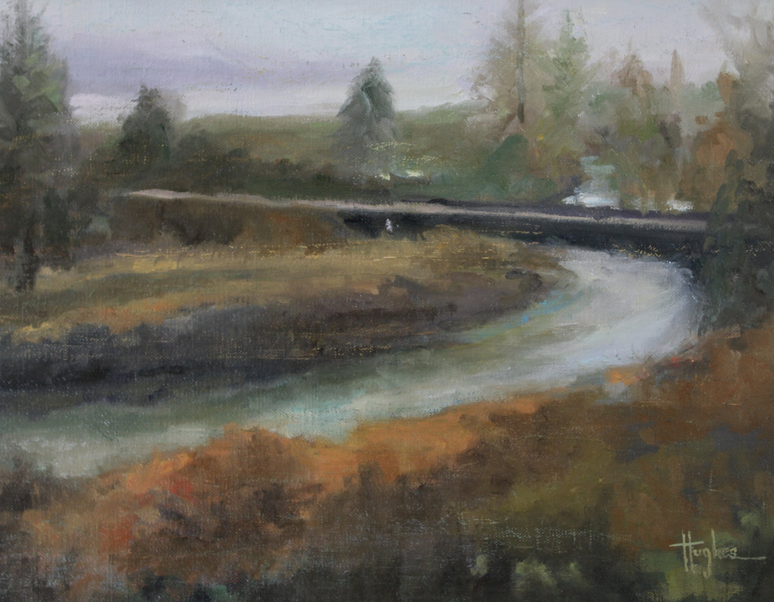 """Crossing the Snohomish"""", """"11 x 14, Oil on Linen Panel, Snohomish, WA"""